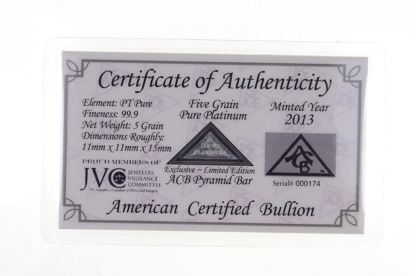 ACB PLATINUM 1 GRAM PURE PT BULLION MINTED BAR 99.9 FINE with CERTIFICATE