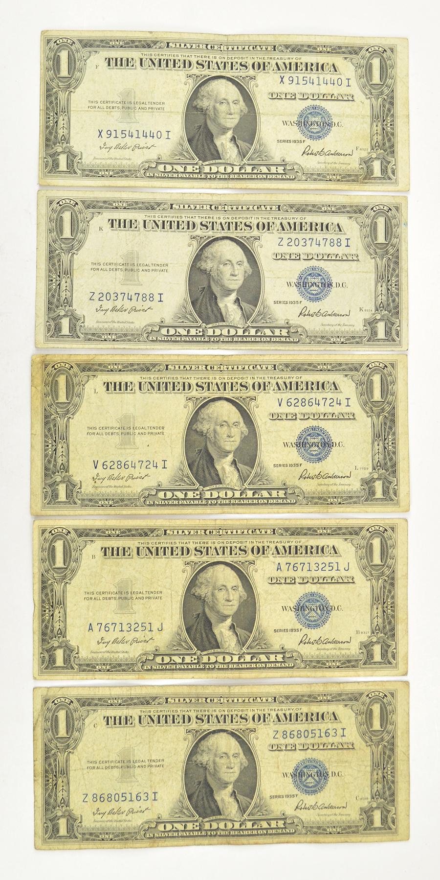 5 X 1935 100 Silver Certificate Dollar Bills Blue Seal Five