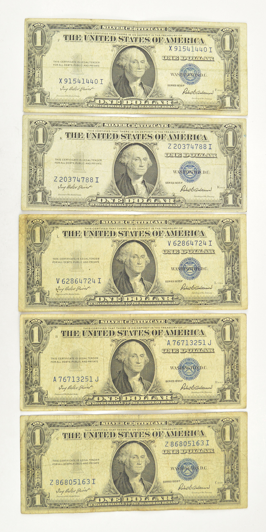 5 x 1935 $1.00 Silver Certificate Dollar Bills - Blue Seal! - Five ...