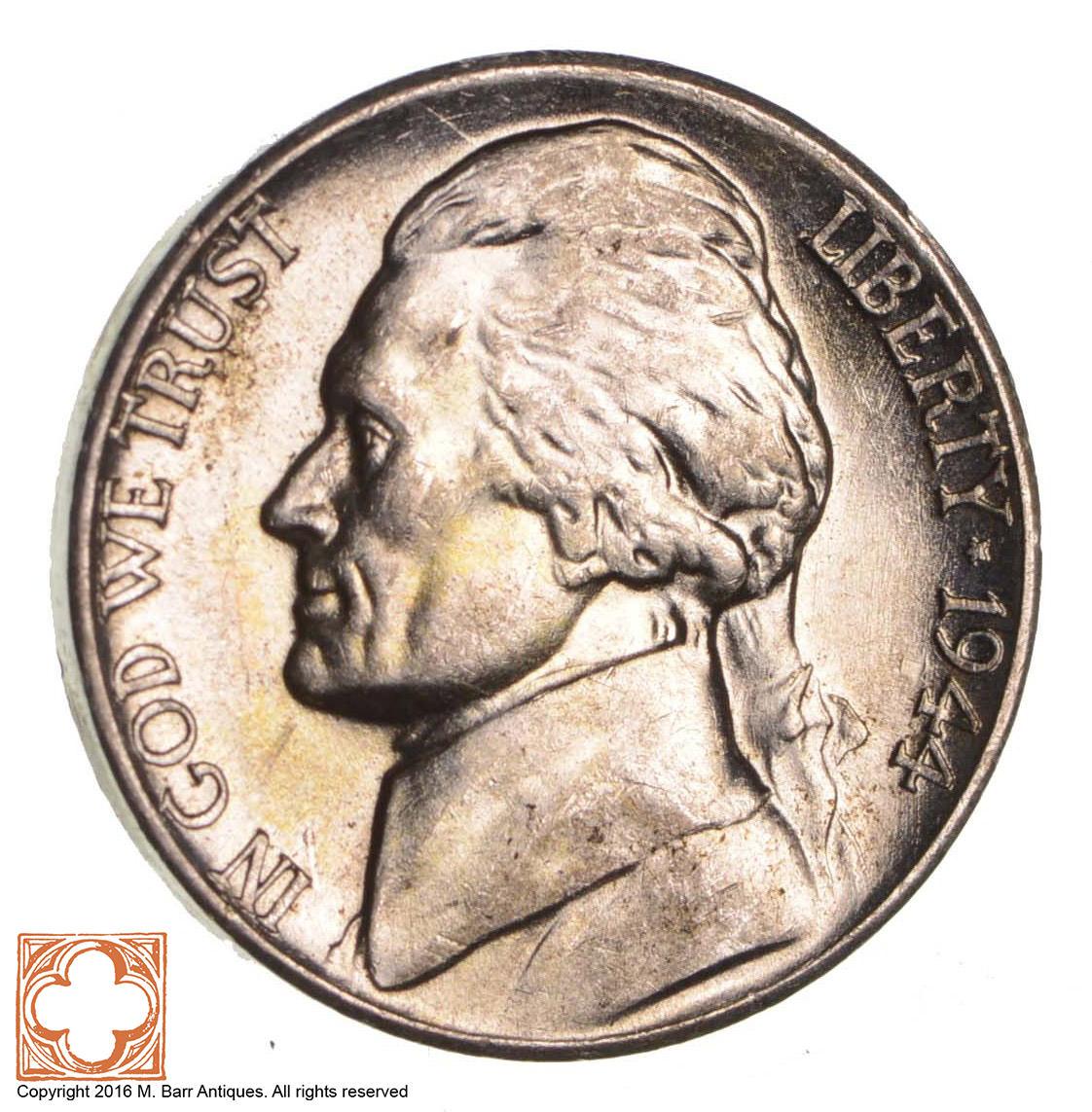 5c BU 1944 D Jefferson WARTIME Silver Nickel