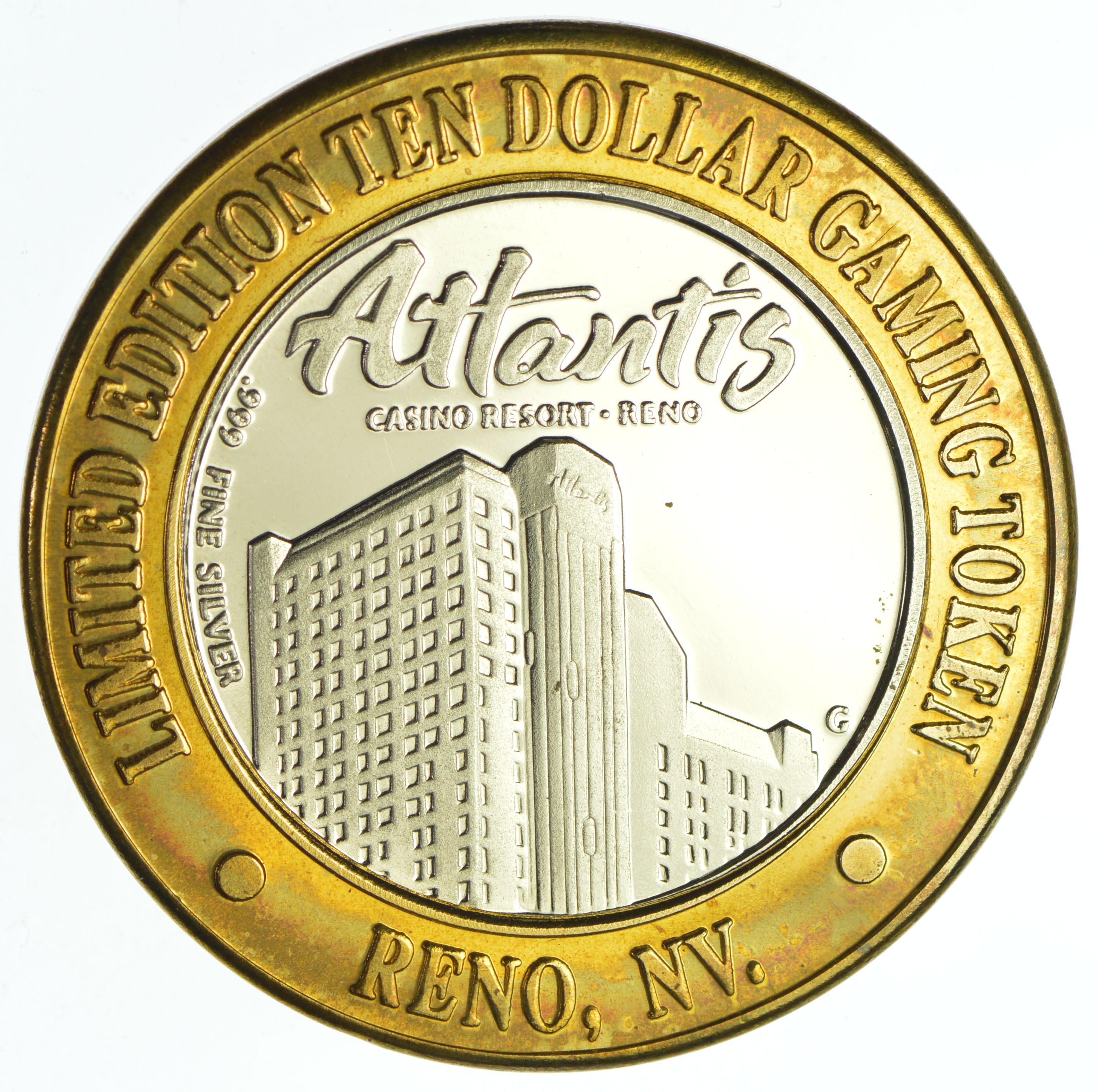 999 Fine Silver Center Atlantis Casino Resort Reno Nv Chip 10 Token Rare Approx 0 60