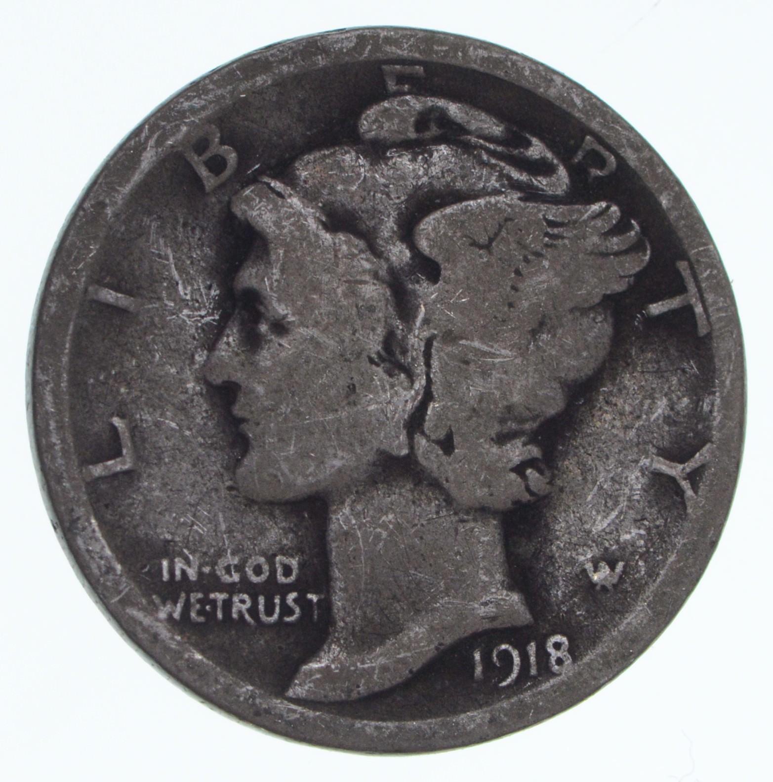 90/% Silver US Coin 1918-D Mercury Dime Circulated