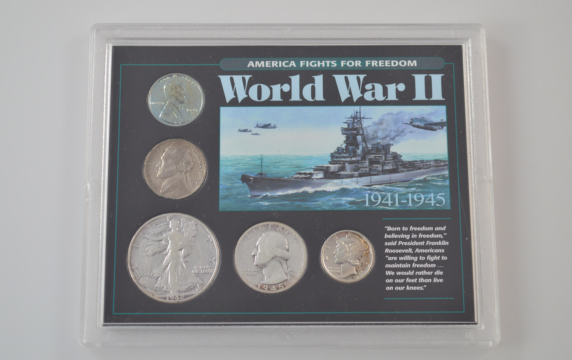 America Fights for Freedom World War II Fancy Packaging Coin