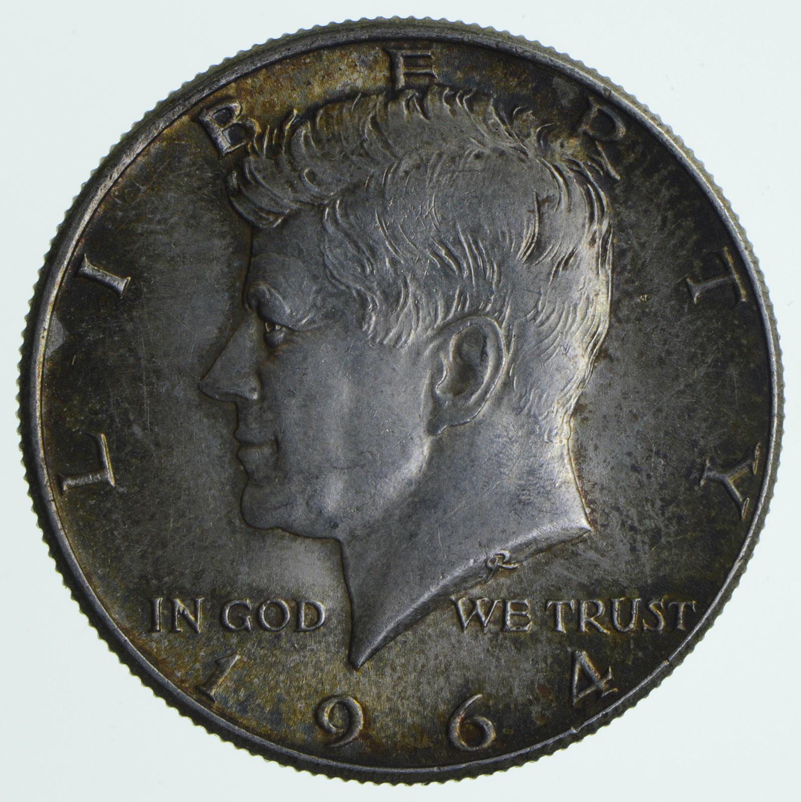 Beautiful - TONED - 1964 Kennedy Silver Half Dollar - 90% US