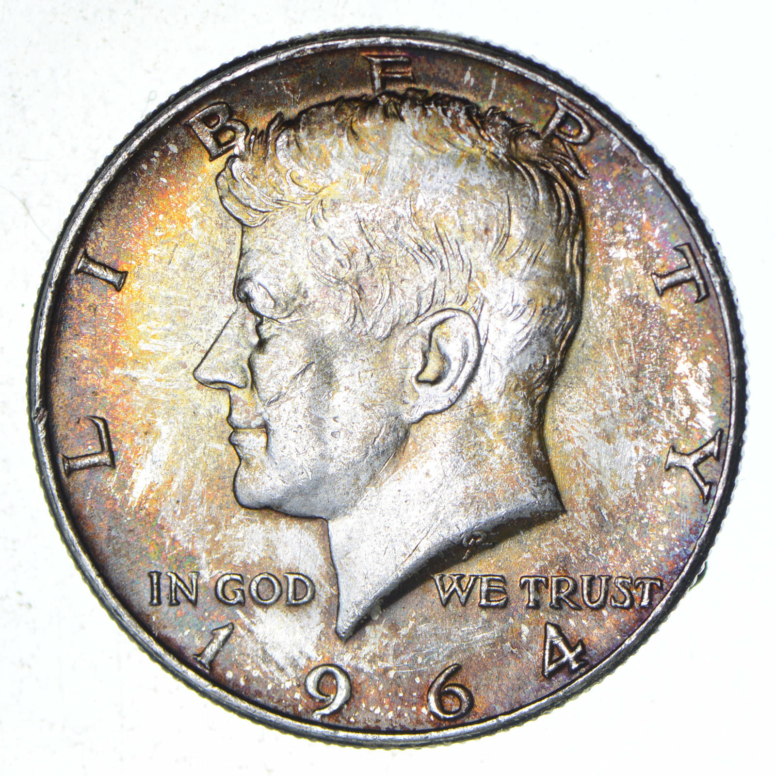 Beautiful - TONED - 1964 Kennedy Silver Half Dollar - 90% US Coin
