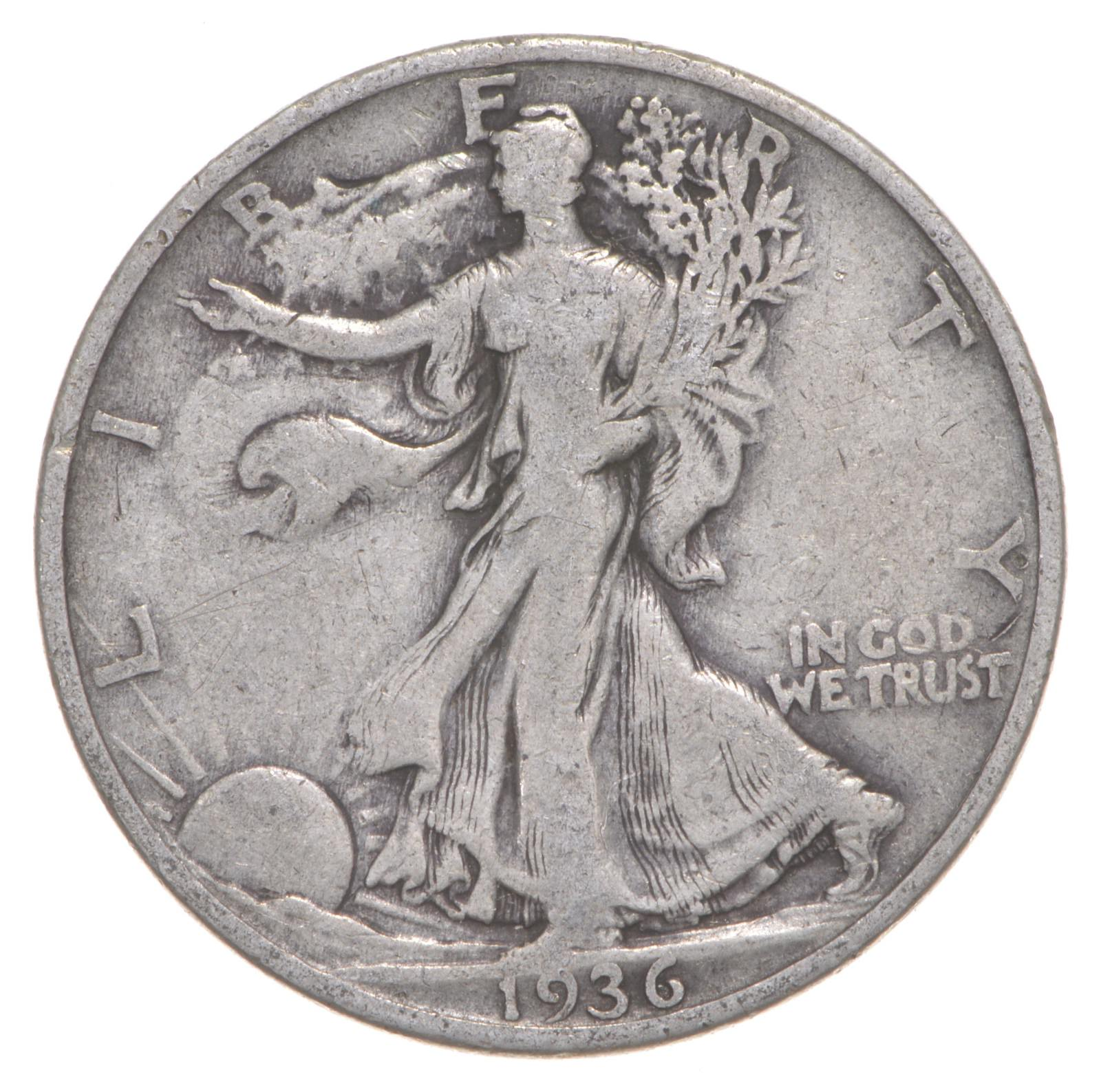 90/% Silver US Coin Very Fine or Better 1936-S Walking Liberty Half Dollar
