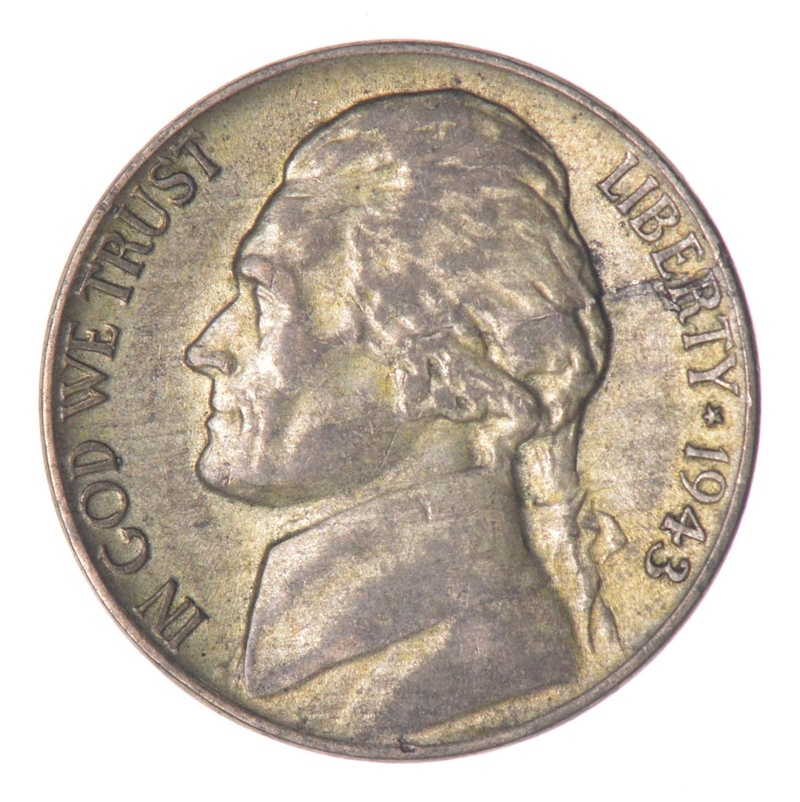 1943 P Jefferson Nickel 35/% Silver war nickles
