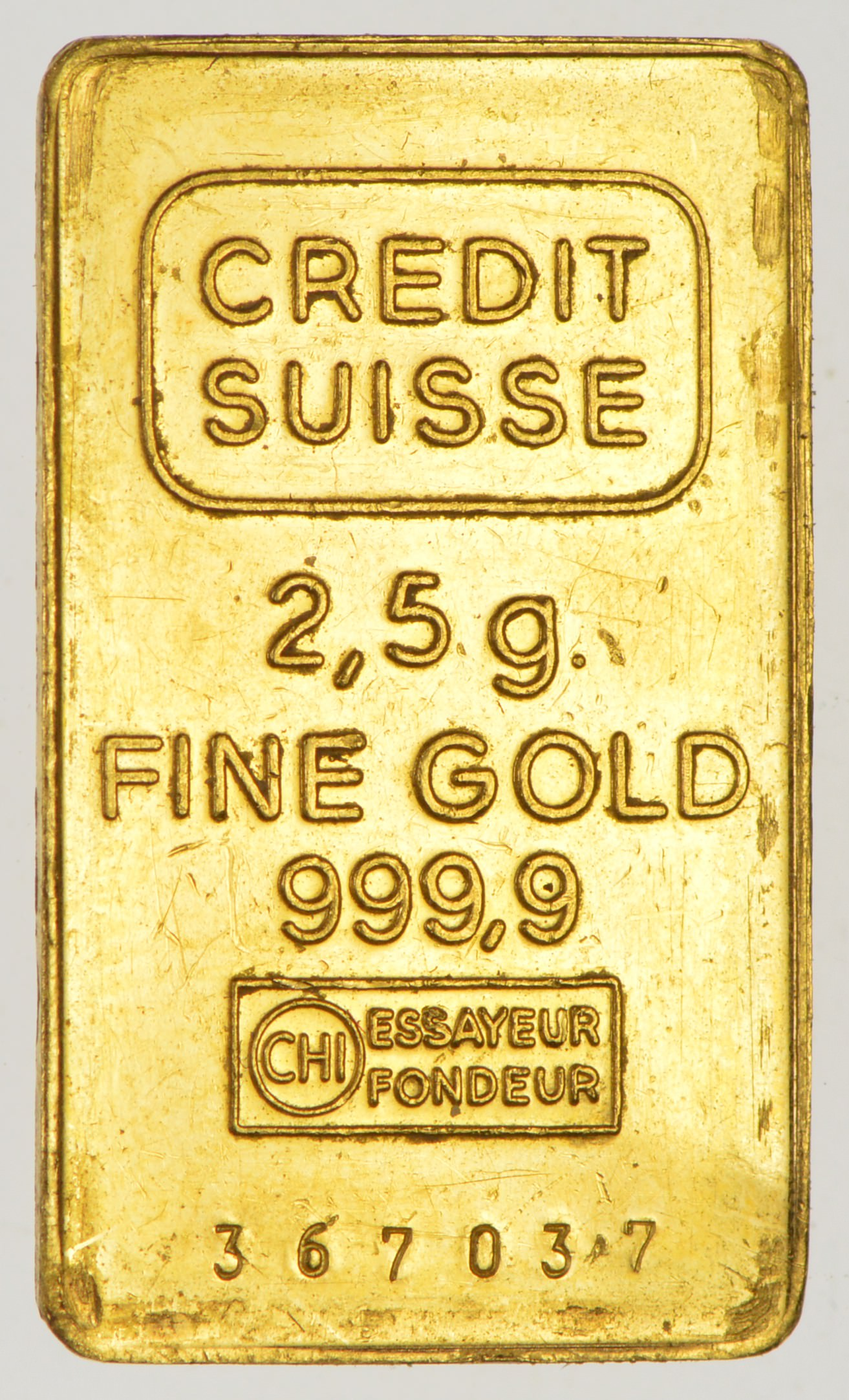 Credit Suisse 999 9 Fine Gold Bar 2 5 Grams Property Room
