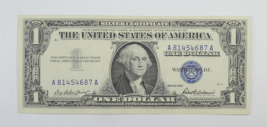 Crisp 1957 $1.00 Silver Certificate United States Dollar Currency ...