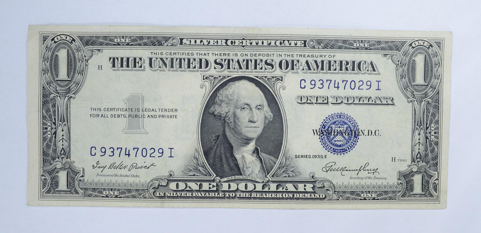 Crisp Difficult Preist Treasurer 1935 E Silver Certificate Blue