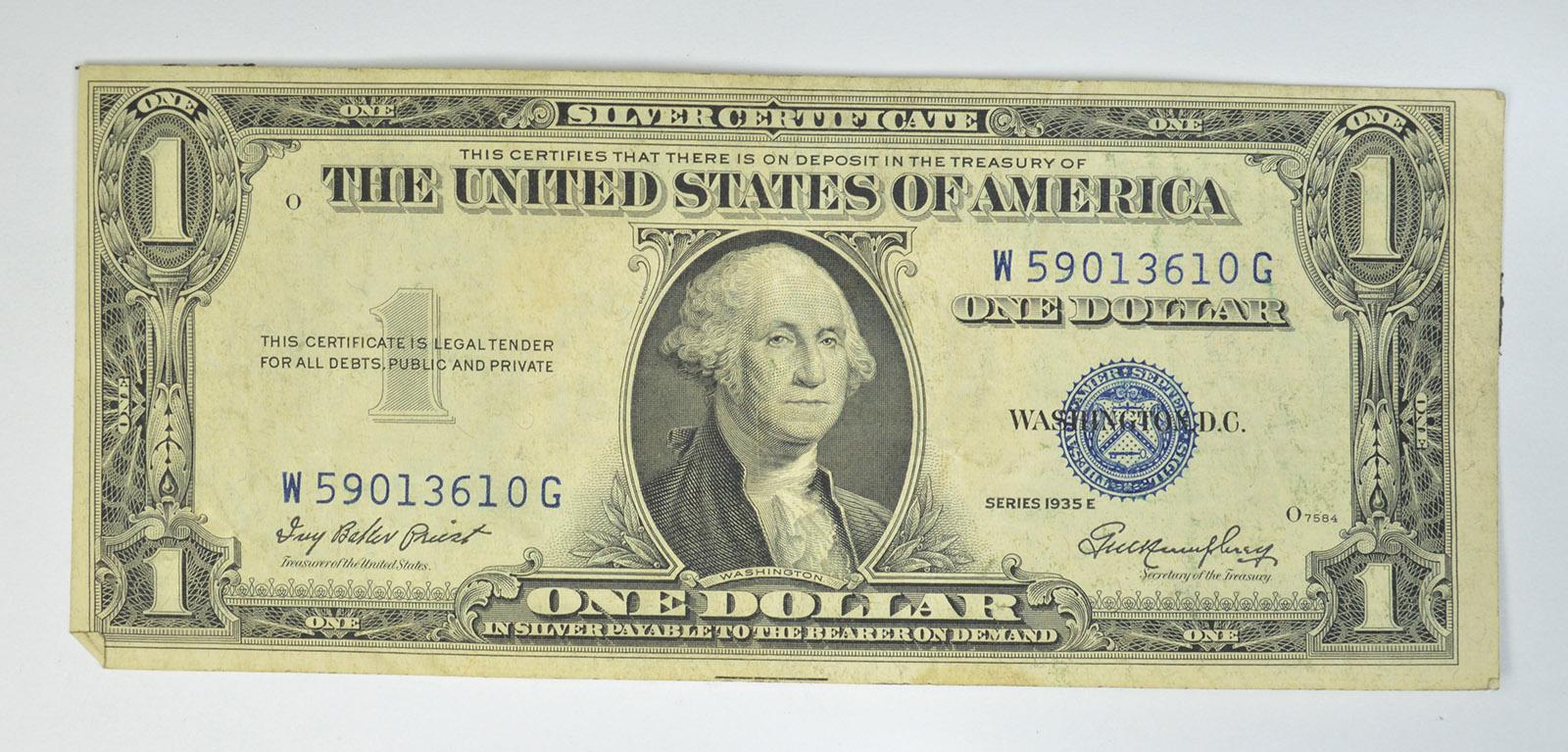 Difficult Preist Treasurer 1935 E Silver Certificate Blue Seal 100