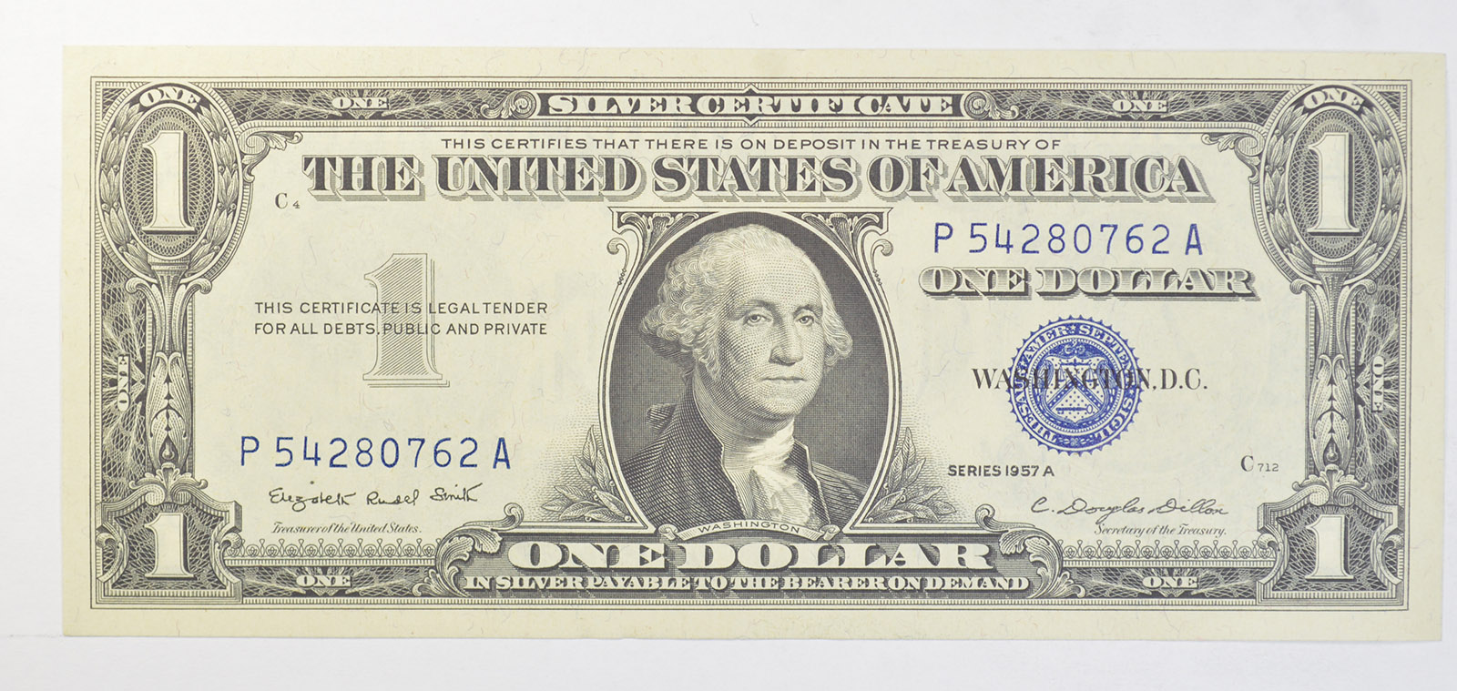 Douglas Dillon Sec Crisp Silver Certificate 1957 A High Grade