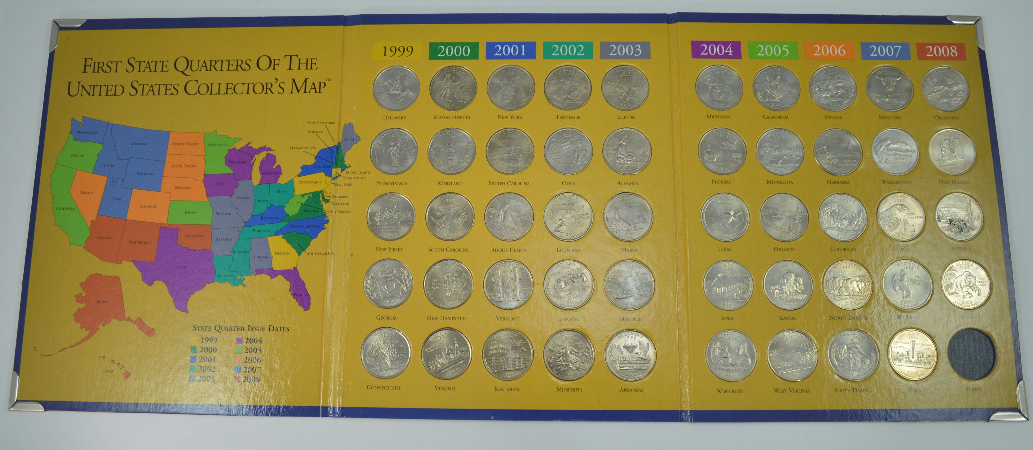 first state quarters of the united states collectors map First State Quarters of The United States Collector's Map 1999