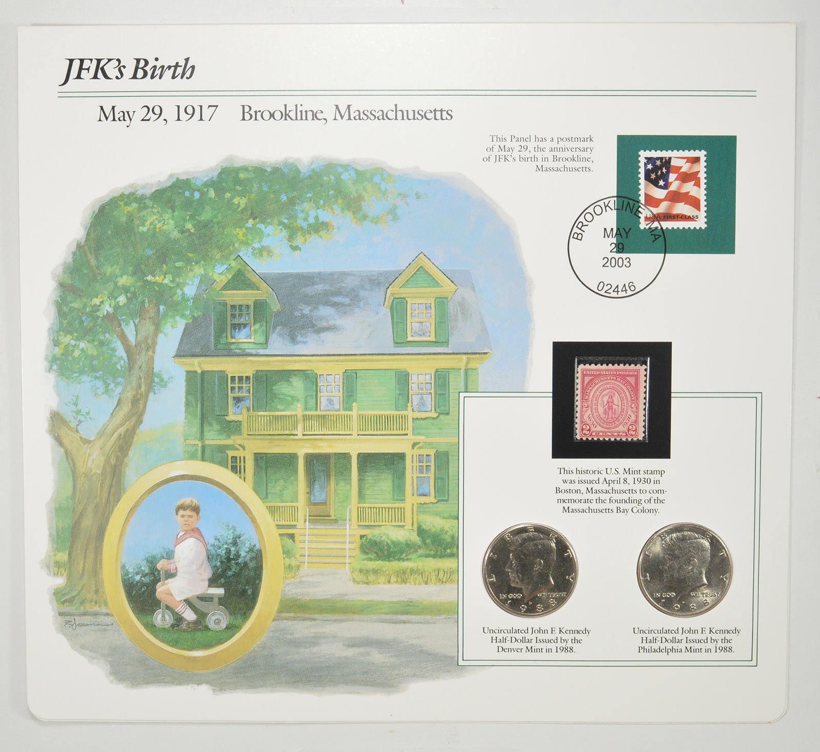 1988 P D Kennedy Half Dollars BU US Mint Cello 2 Coin Set