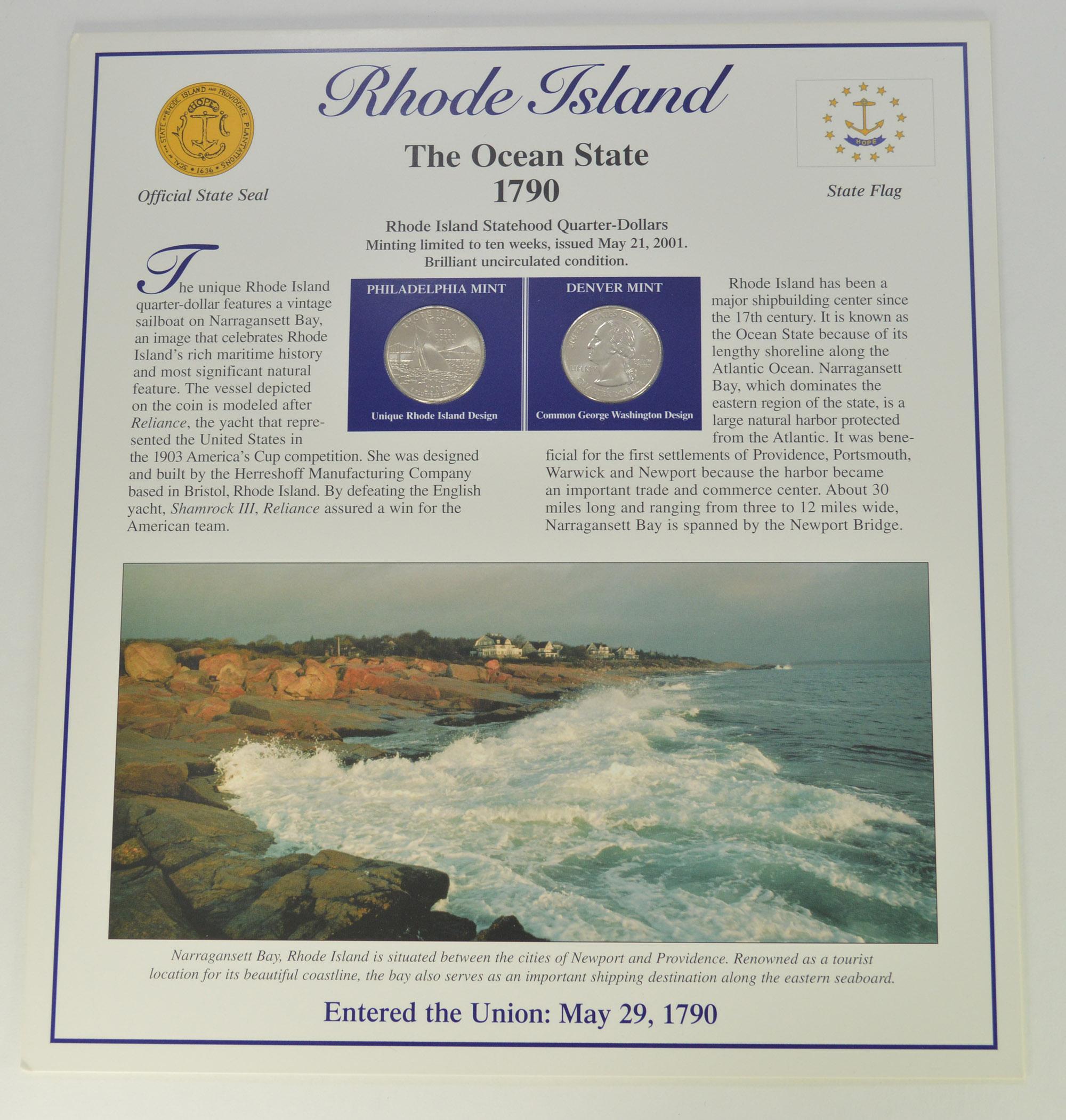 Full Color 2 Coin Ch BU Rhode Island State Quarter