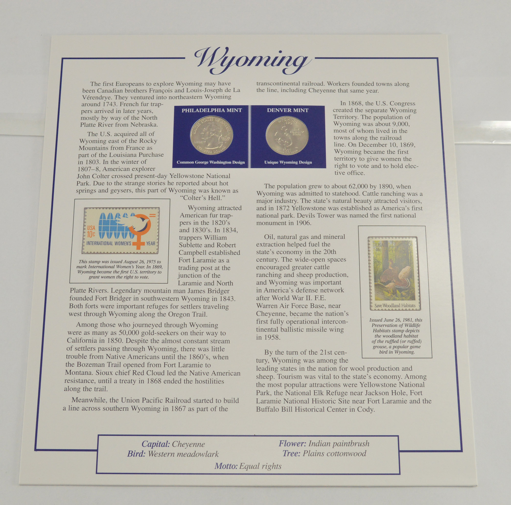 Full Color 2 Coin Ch BU Wyoming State Quarter Beautifully