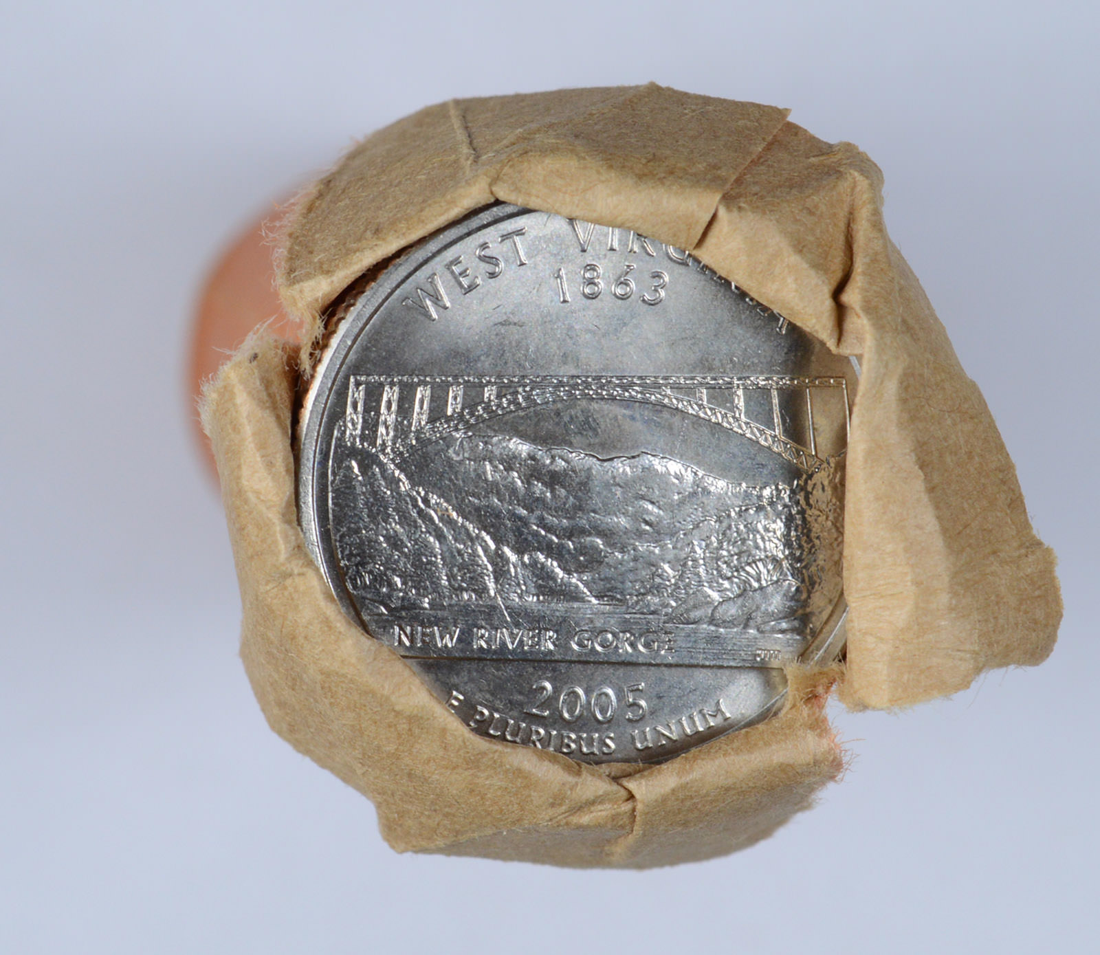 WEST VIRGINIA 2005-D UNCIRCULATED ROLL QUARTERS from Mint Bags