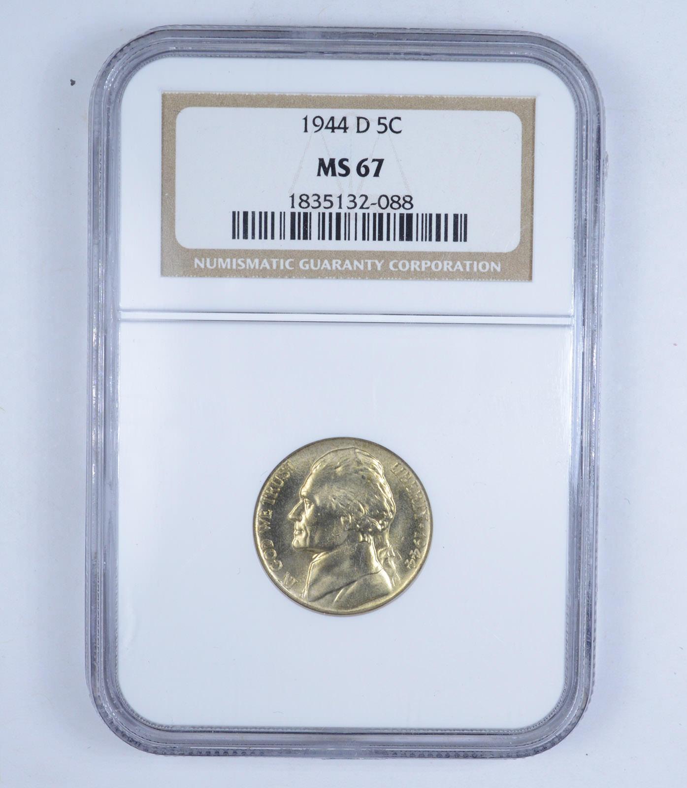 GRADED 1944 D Jefferson Nickel MS67