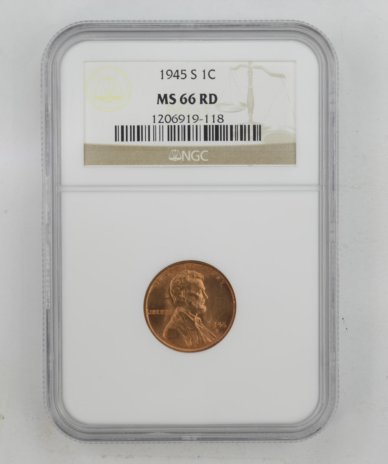 1945 D Lincoln Wheat Penny NGC MS66RD