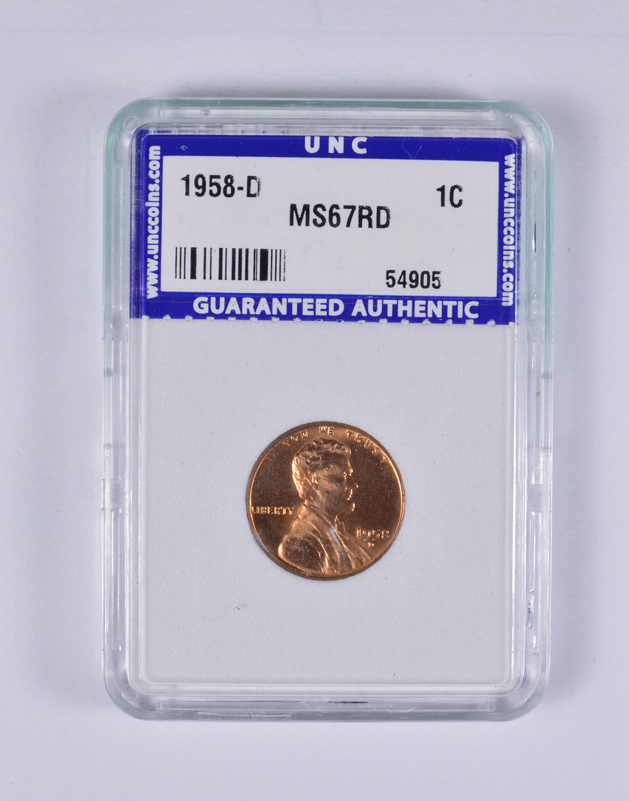 Graded - MS67RD 1958-D Lincoln Wheat Cent - Unc Coins Graded