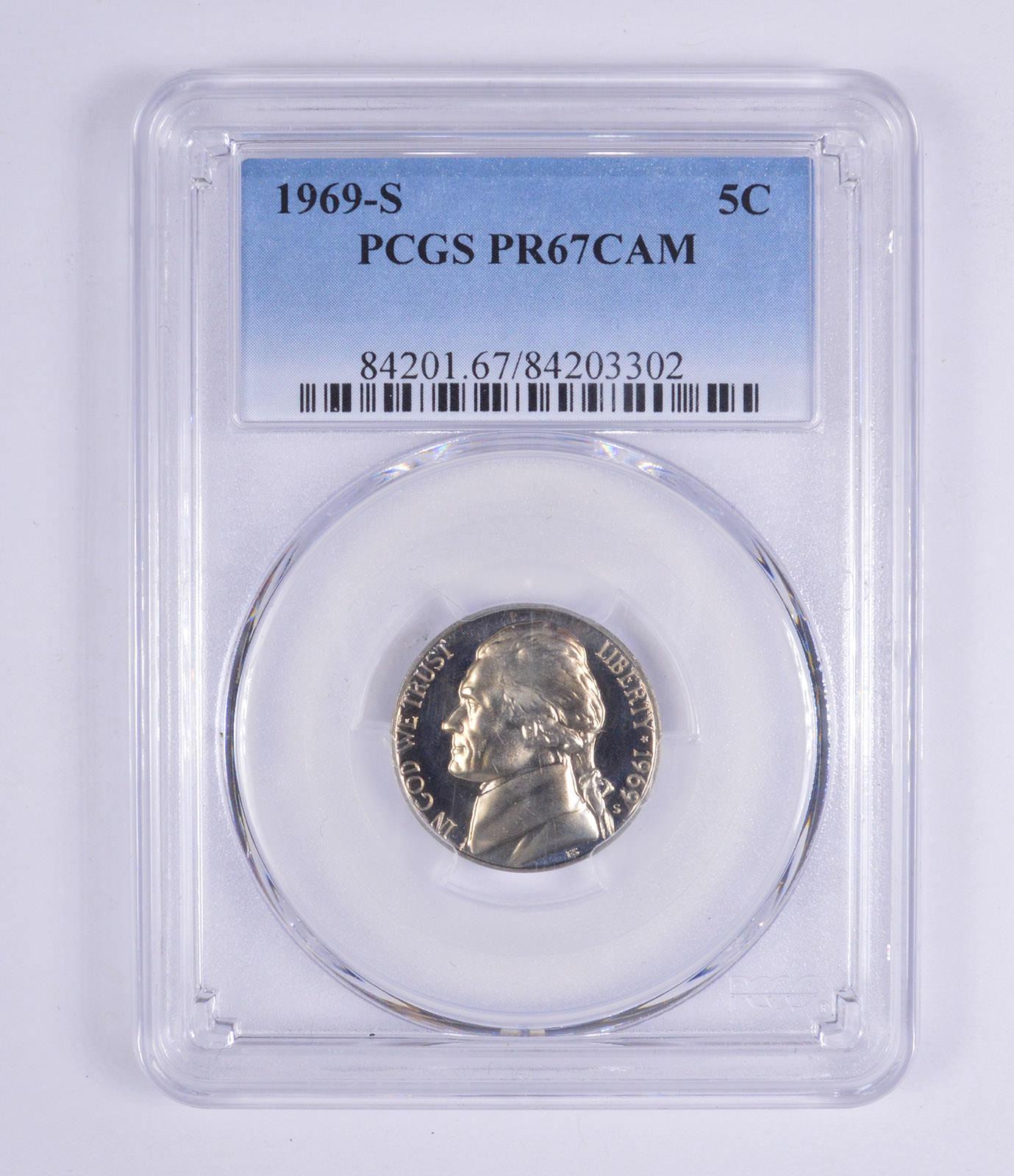 Graded - PR67CAM 1969-S Jefferson Nickel - Proof