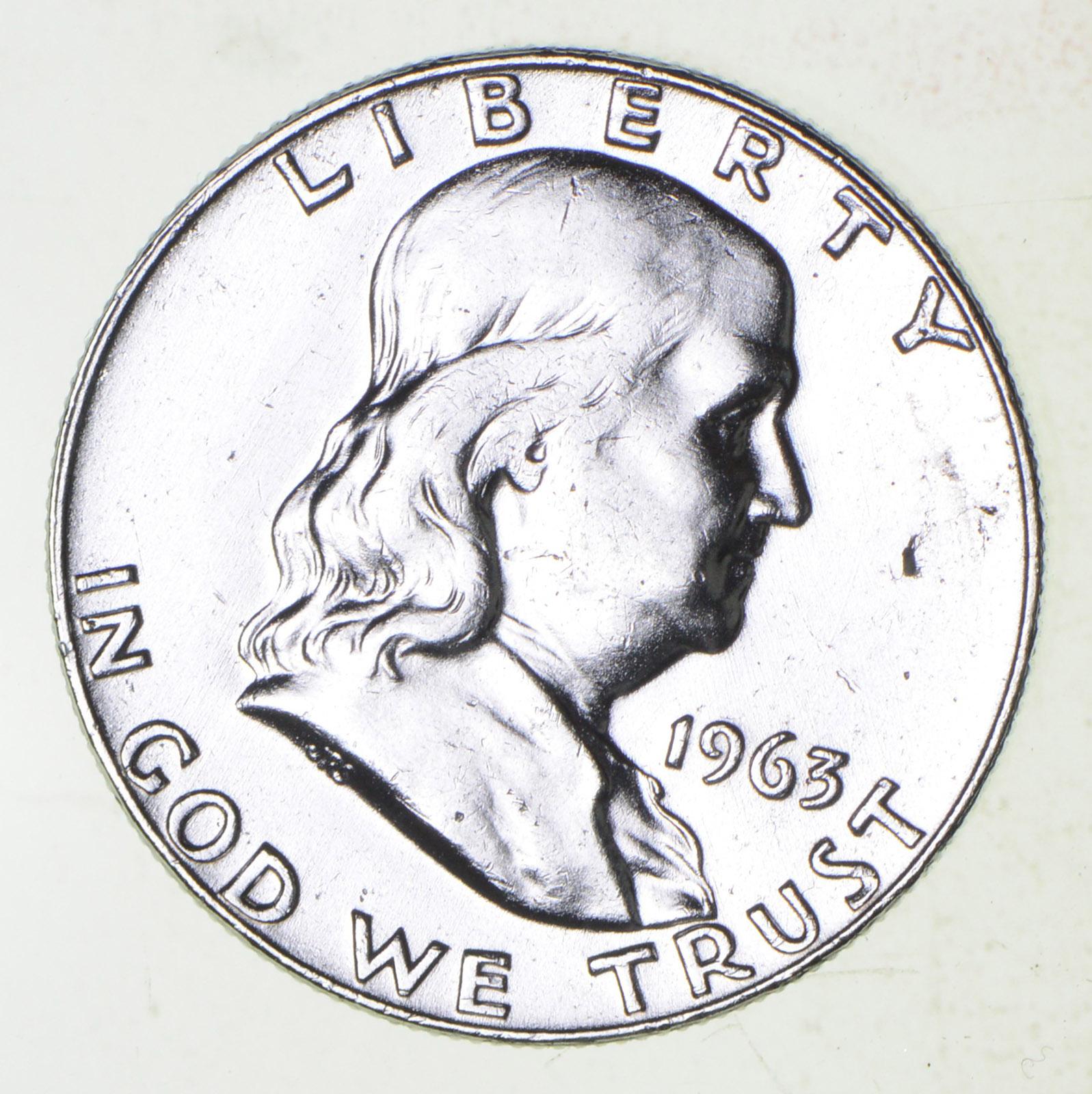 Higher Grade - 1963-D - RARE Franklin Half Dollar 90% SIlver Coin