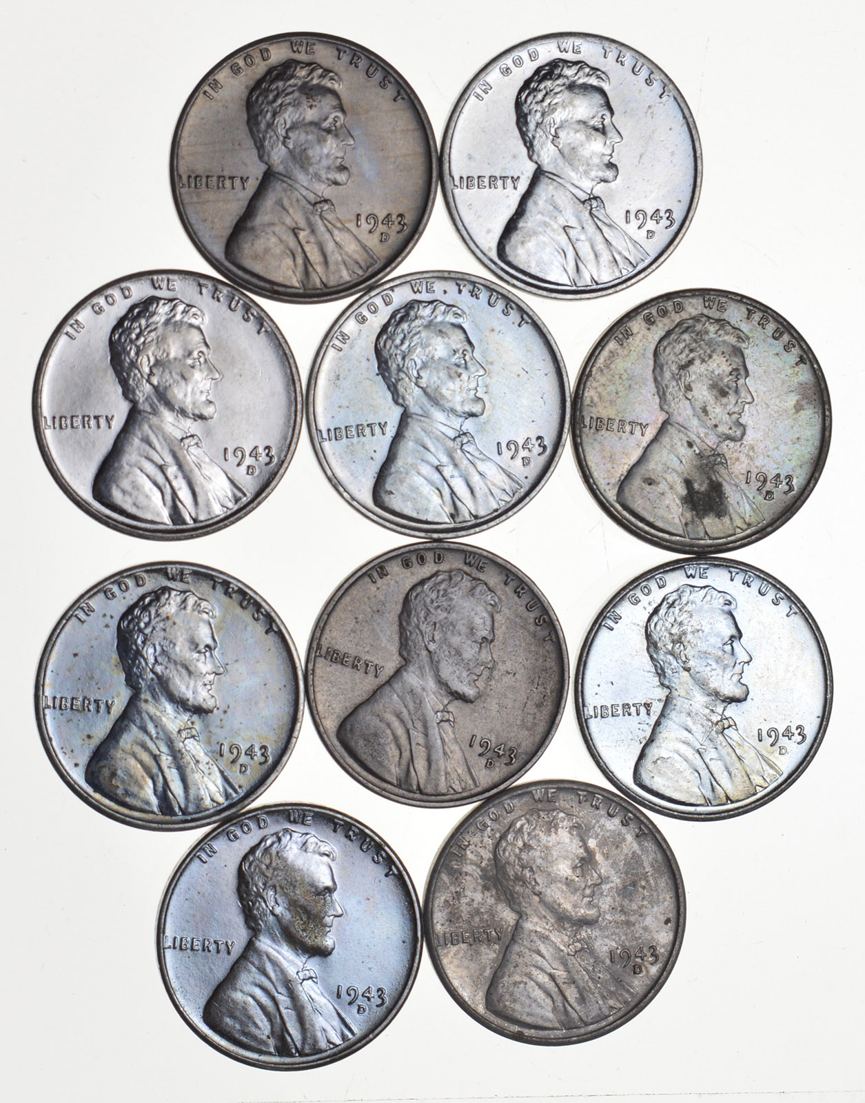 Higher Grade! Lot of 10 1943-D WWII Steel Lincoln Wheat Cent
