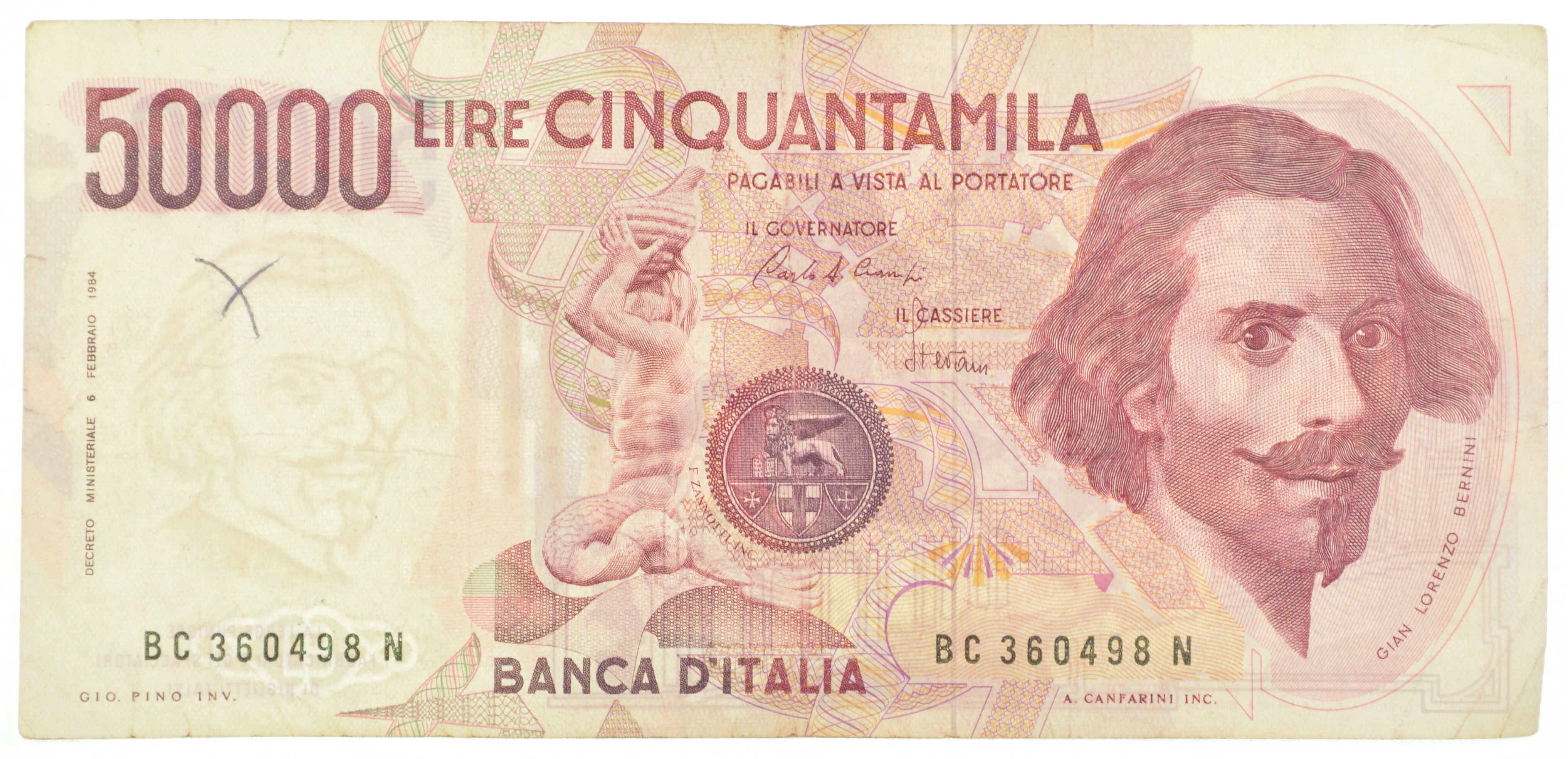 Historic Italian Paper Money Currency Interesting Note From Italy Property Room