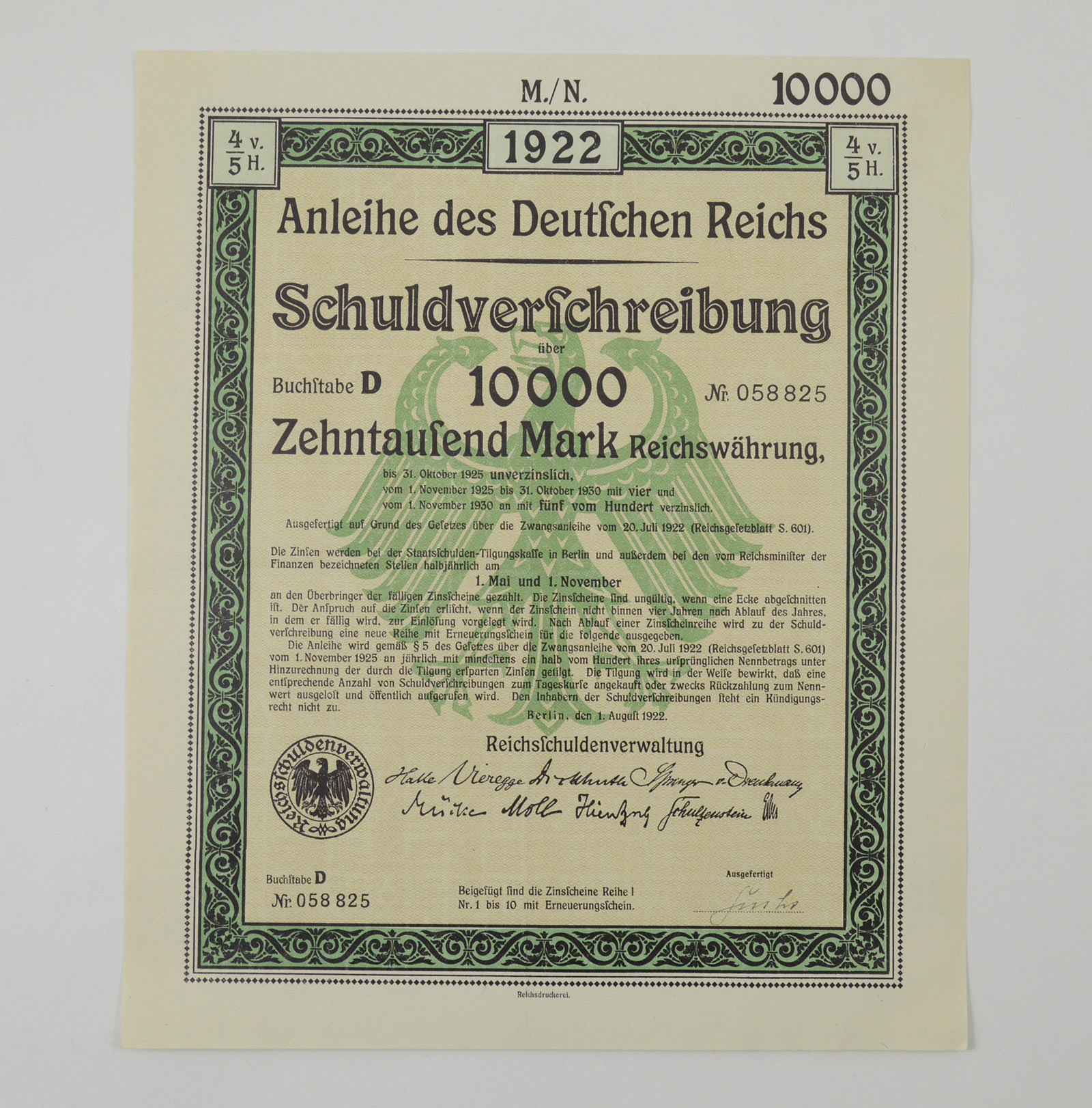 Huge 1922 10000 Marks Bond Certificate Measure 8 X 9 12