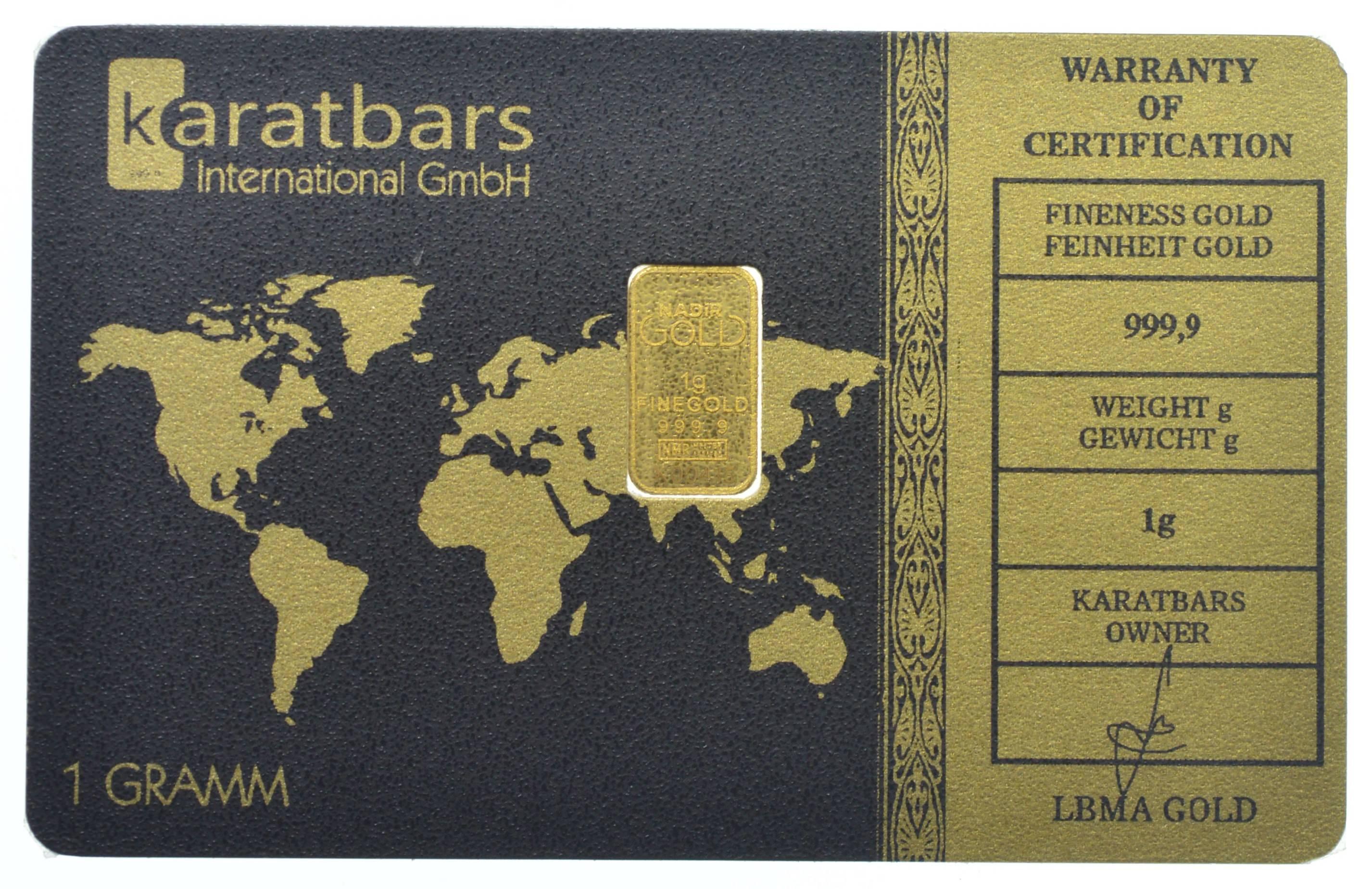 Karatbars Nadir Gold 999 9 Fine Gold Bar 1 Gram Card