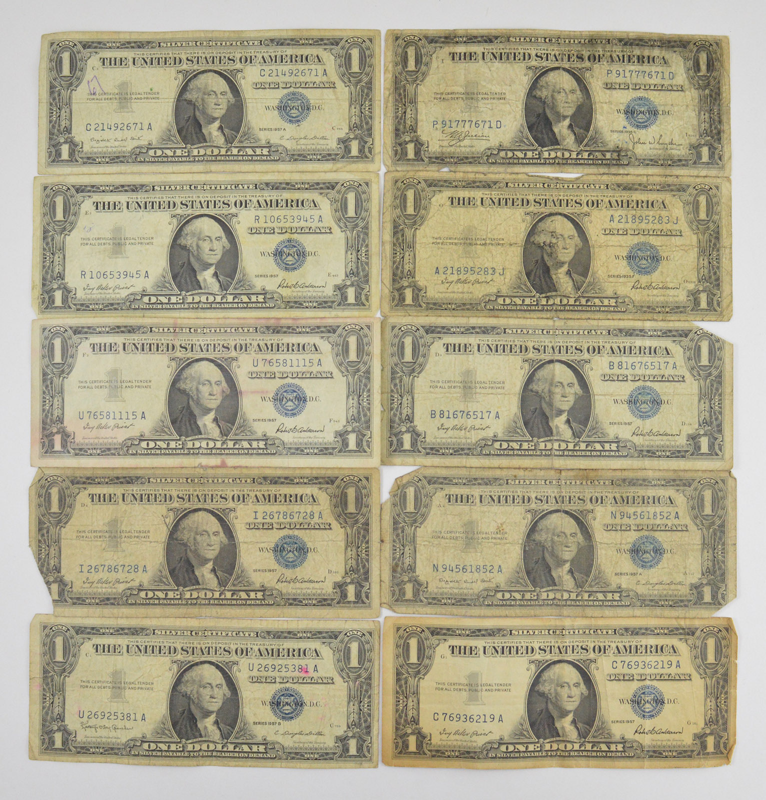 lot 10 1 00 1935 1957 silver blue seal certificate notes
