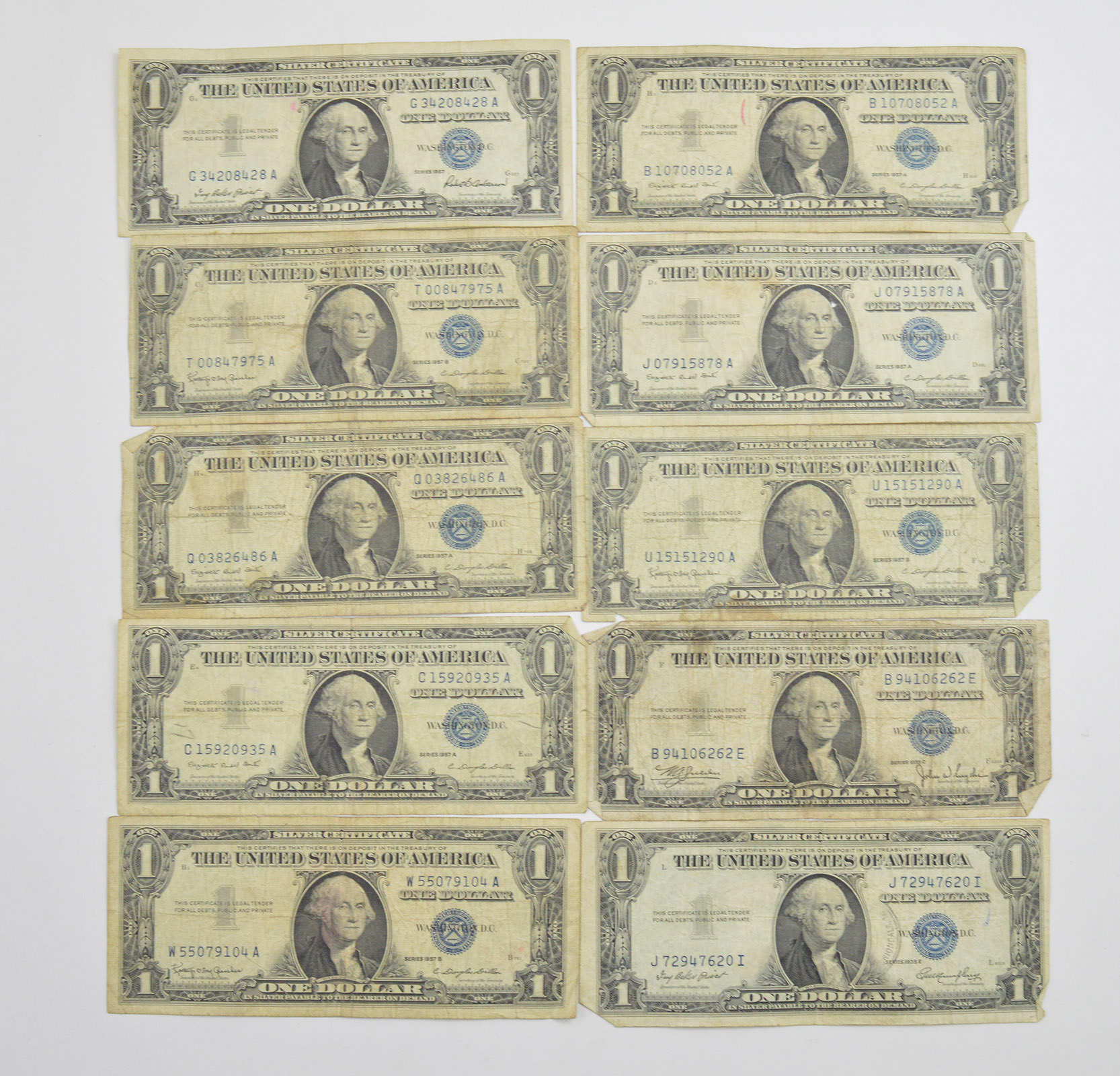 lot 10 1957 or 1935 1 00 silver blue seal certificate notes