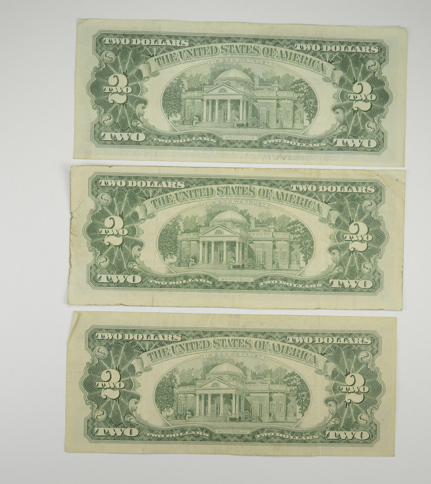 Lot 3 Red Seal 2 00 Us 1953 Or 1963 Notes Currency Collection