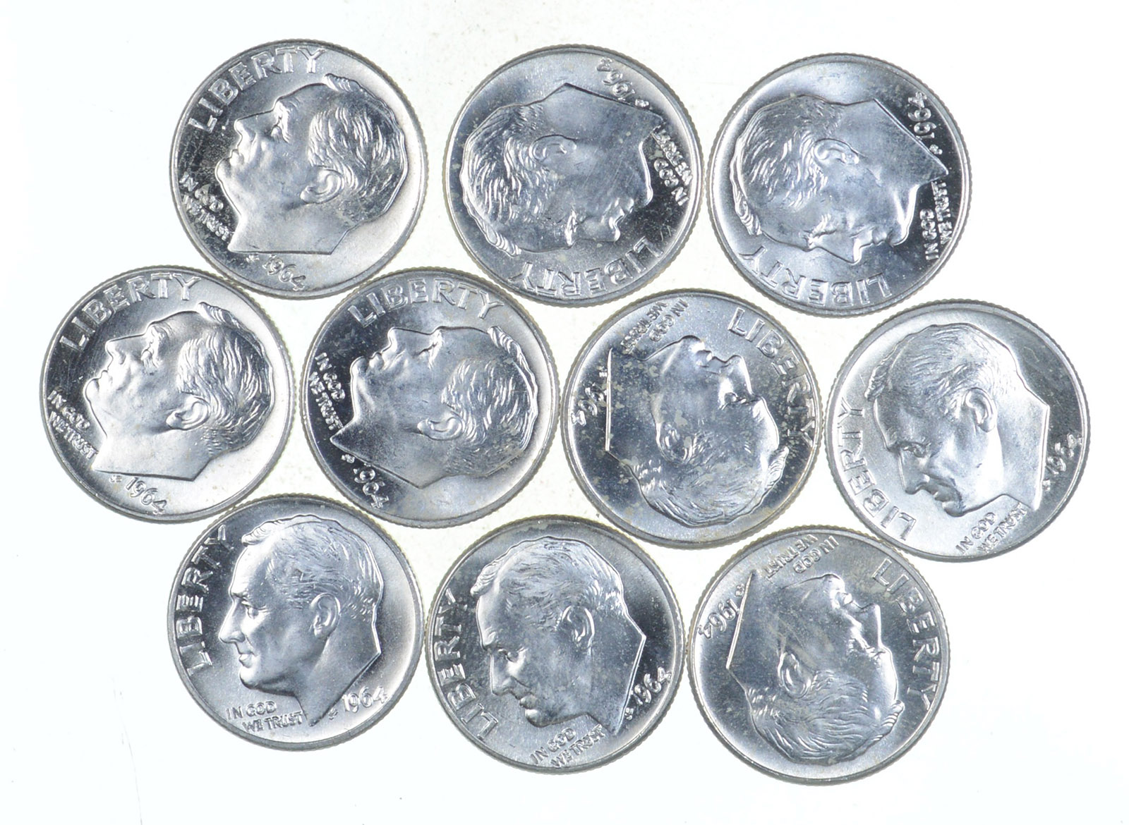 LOT OF 10 SILVER  ROOSEVELT DIMES