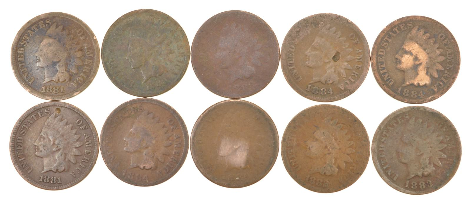 Lot of 10 1800's 1880-1889 Indian Head Penny Cents - US Coin