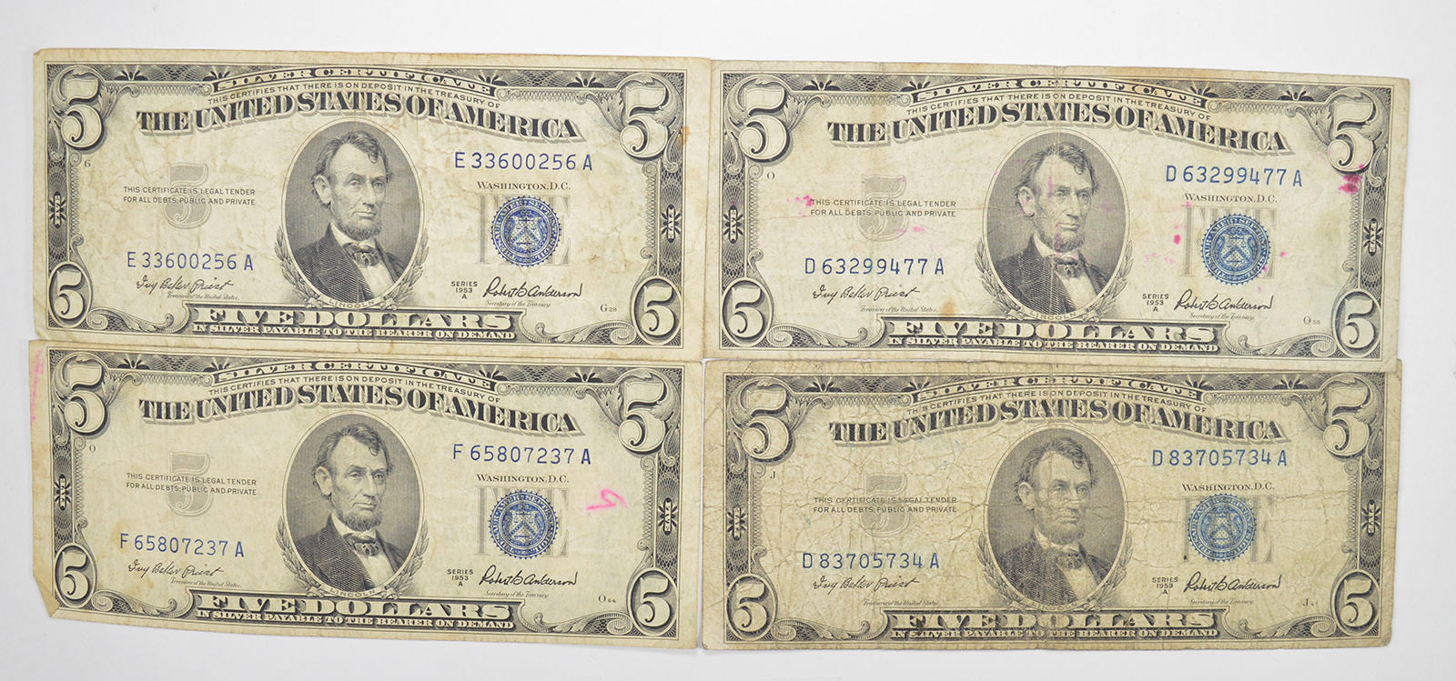 Lot Of 4 500 Silver Certificate Blue Seal Old Us Notes Currency