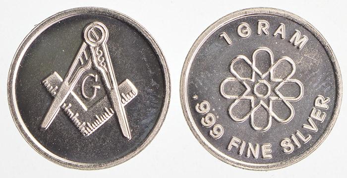 Mason Masonic Symbol - 1 Gram  999 Fine Silver - Custom Designed