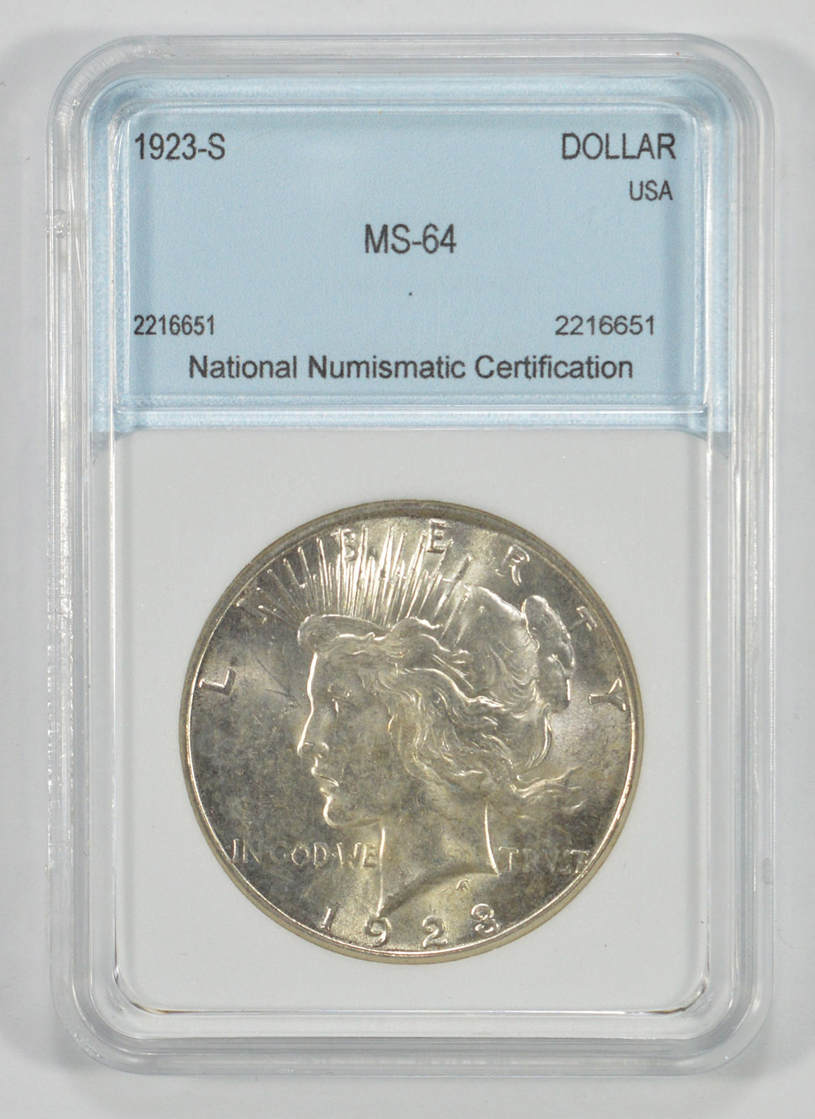 Ms64 1923 S Peace Silver Dollar Graded By Nnc Property Room