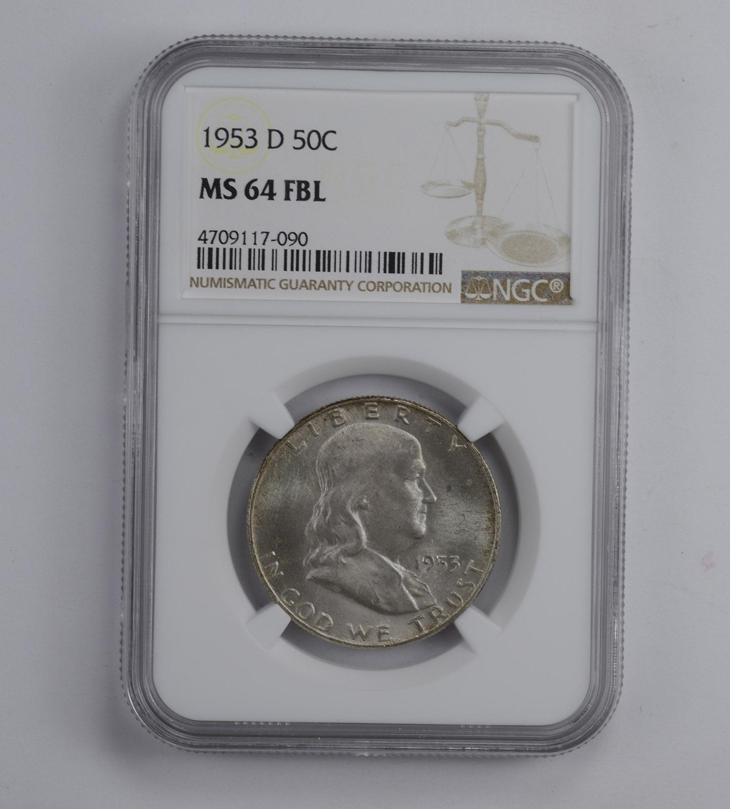 FBL Half Dollar MS-64 NGC 1956 Franklin Half Dollar MS-64 NGC