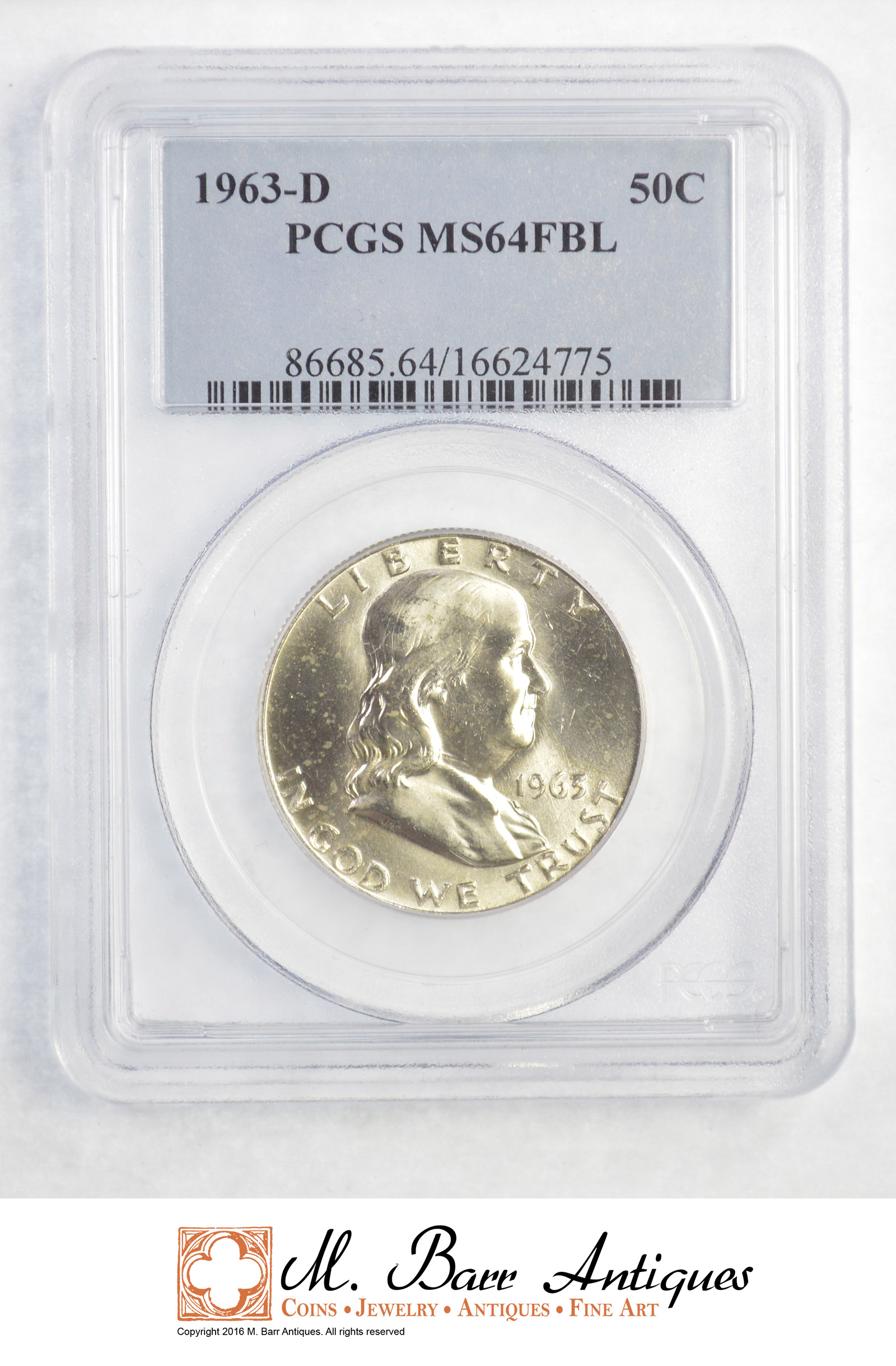 MS64 1963-D Franklin Half Dollar PCGS