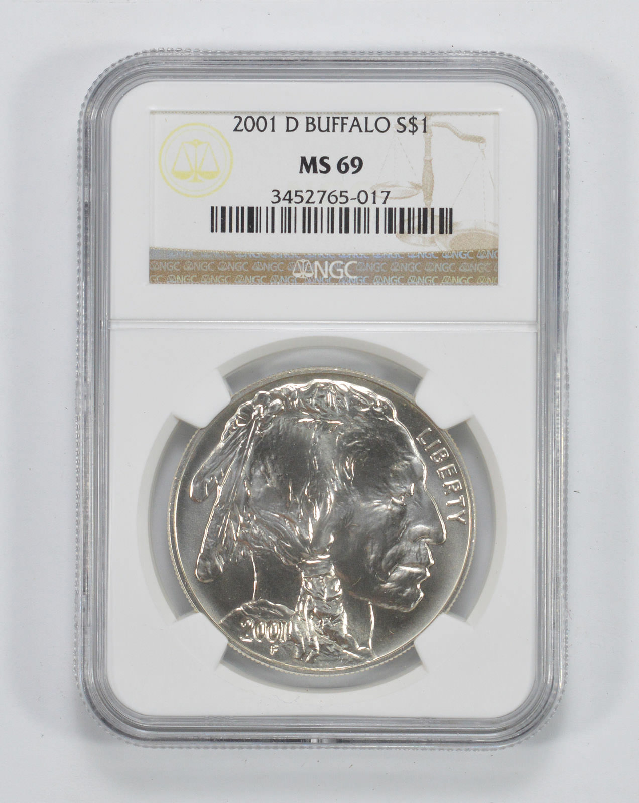 Mint State 69 NGC MS-69 2001-D Silver American Buffalo Commemorative Dollar