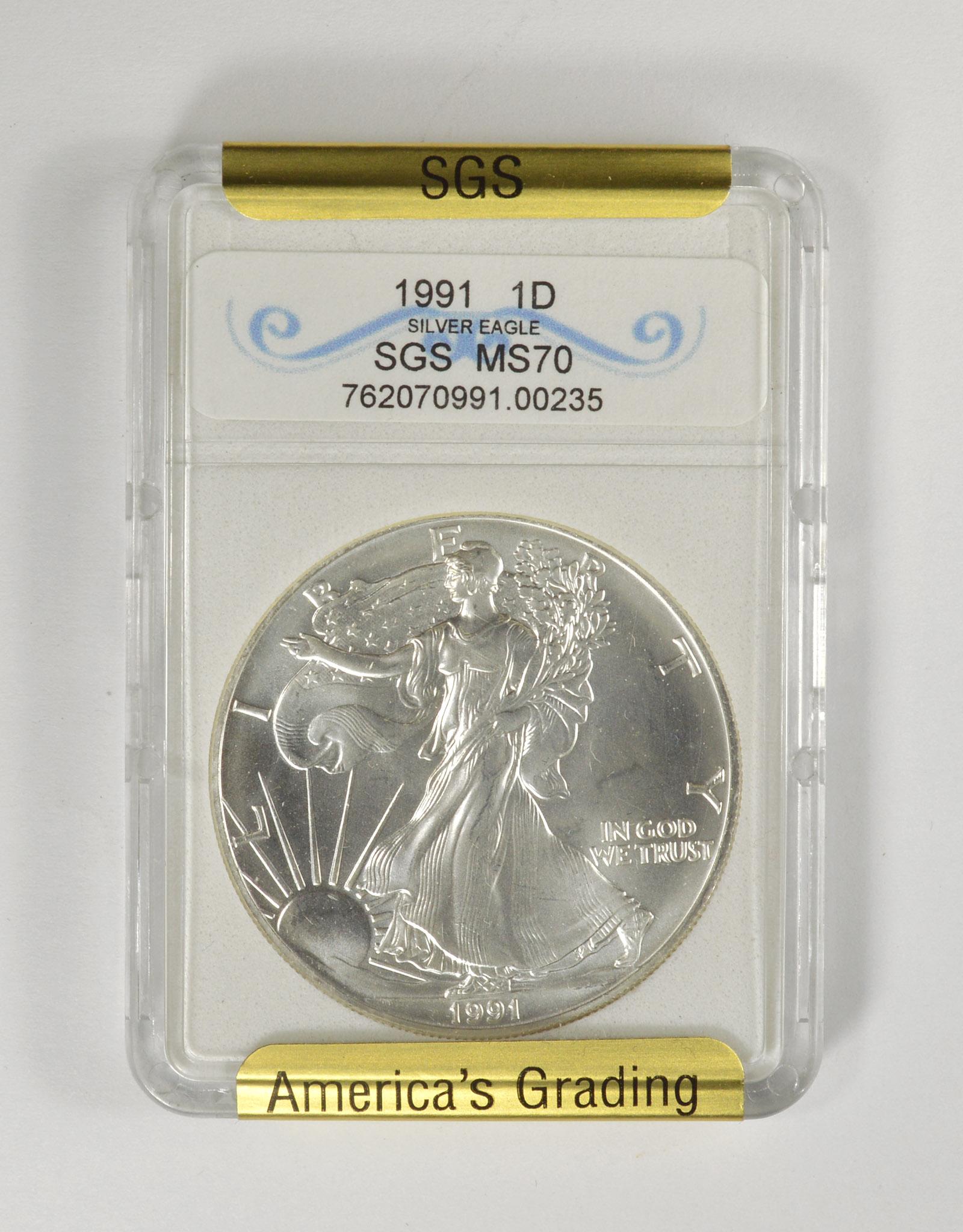 MS70 1991 American Silver Eagle Dollar