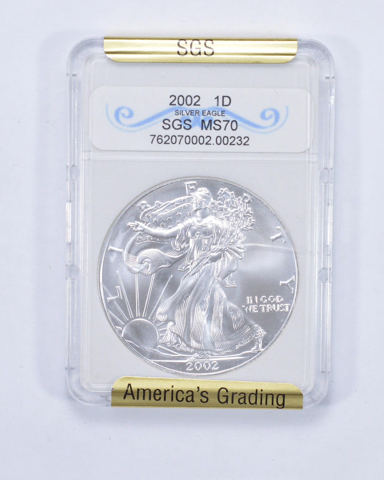 2002 Silver Eagle~Graded MS70~.999 Silver~Great Year~!