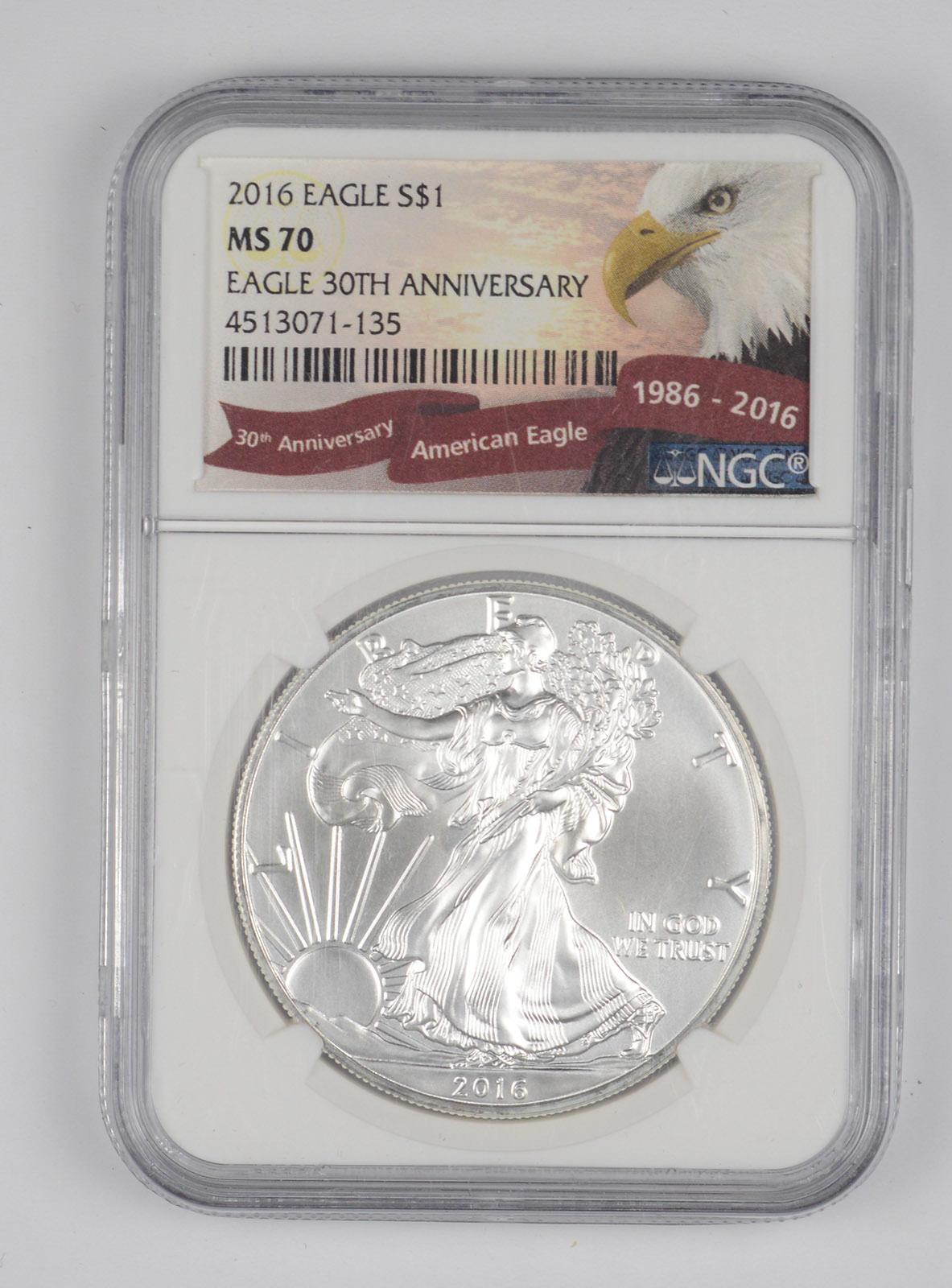 """2016 American Silver Eagle /"""" 30th Anniversary /"""" Graded PCGS MS70"""