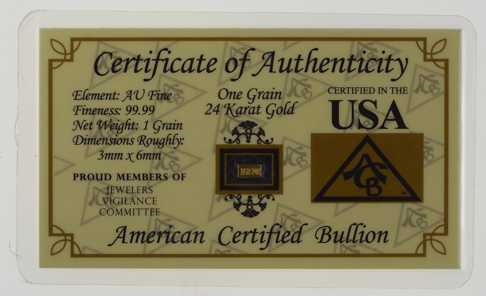 One Grain 25 Karat Gold Fine Bar