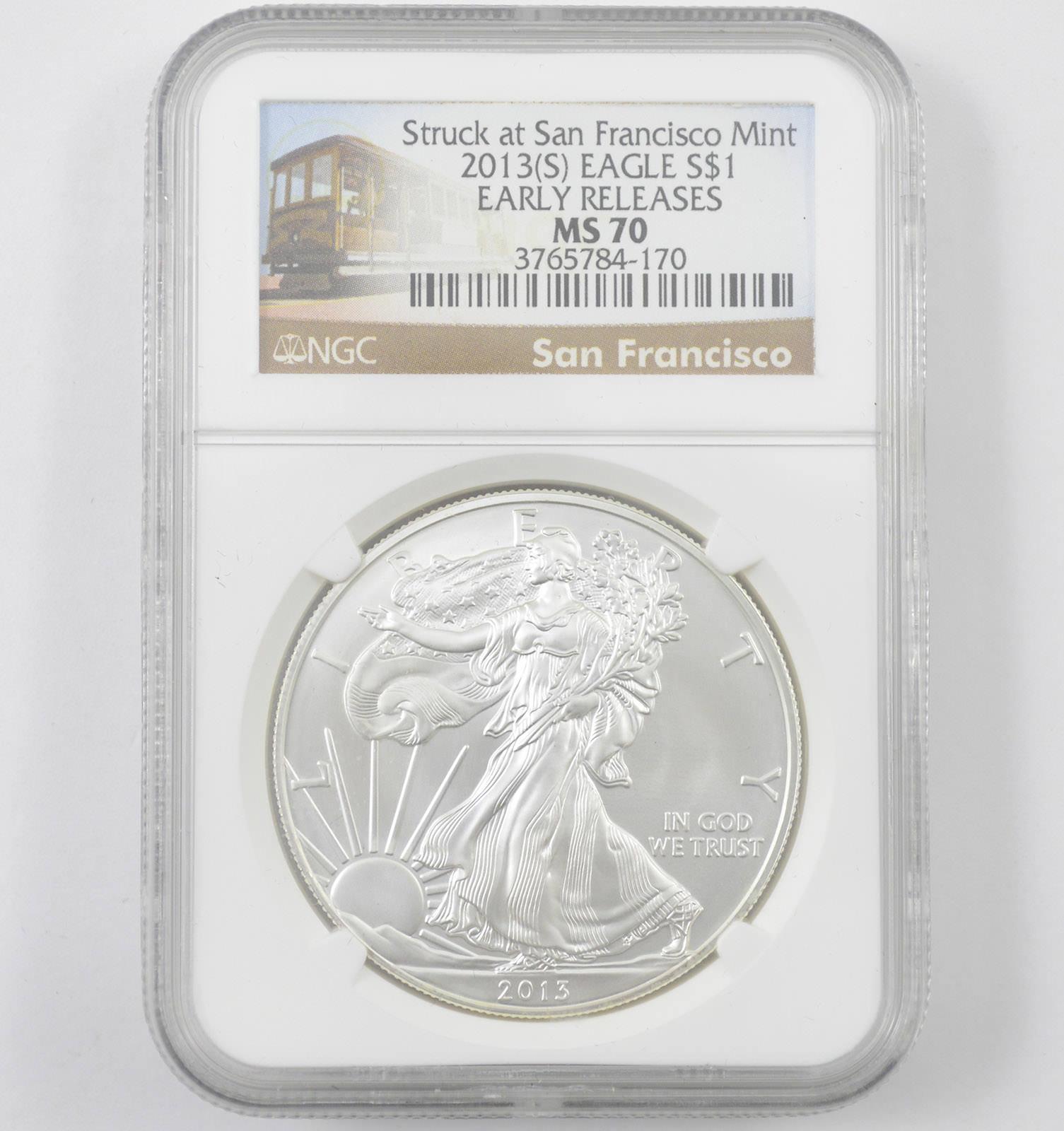 Silver Eagle S PCGS MS70 San Francisco Mint Label 2013-