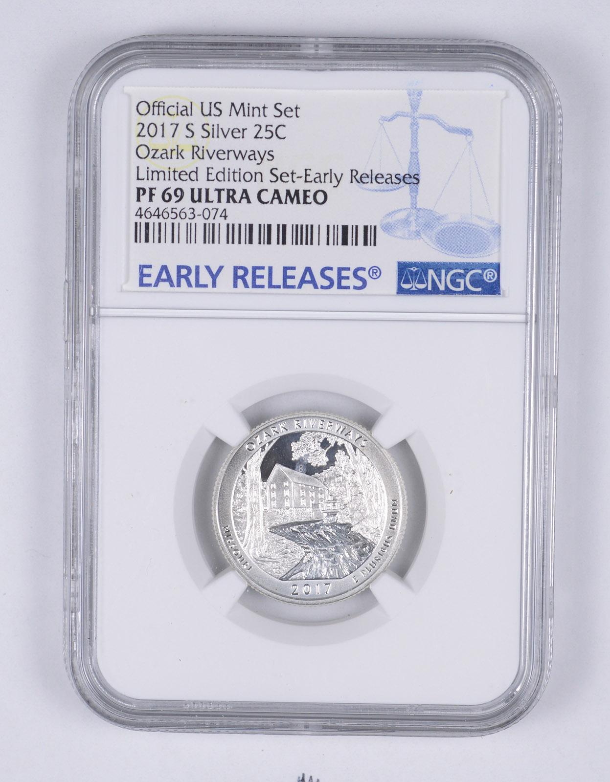 2017 S Silver Quarter Limited Edition Proof Set Ozark Riverways NGC PF69 UCAM FR