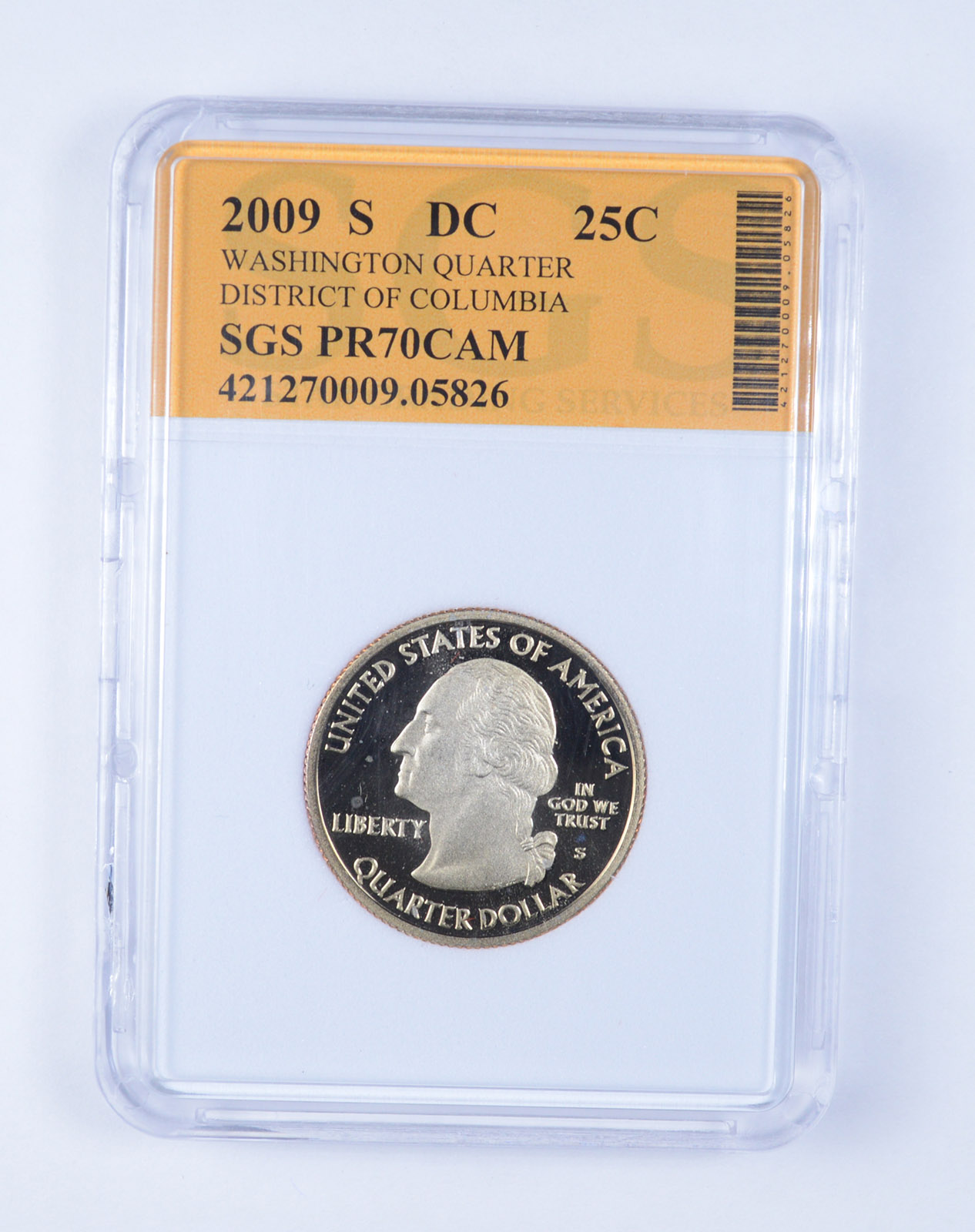 2009S District of Columbia 25c DCAM Silver Proof Washington Quarter
