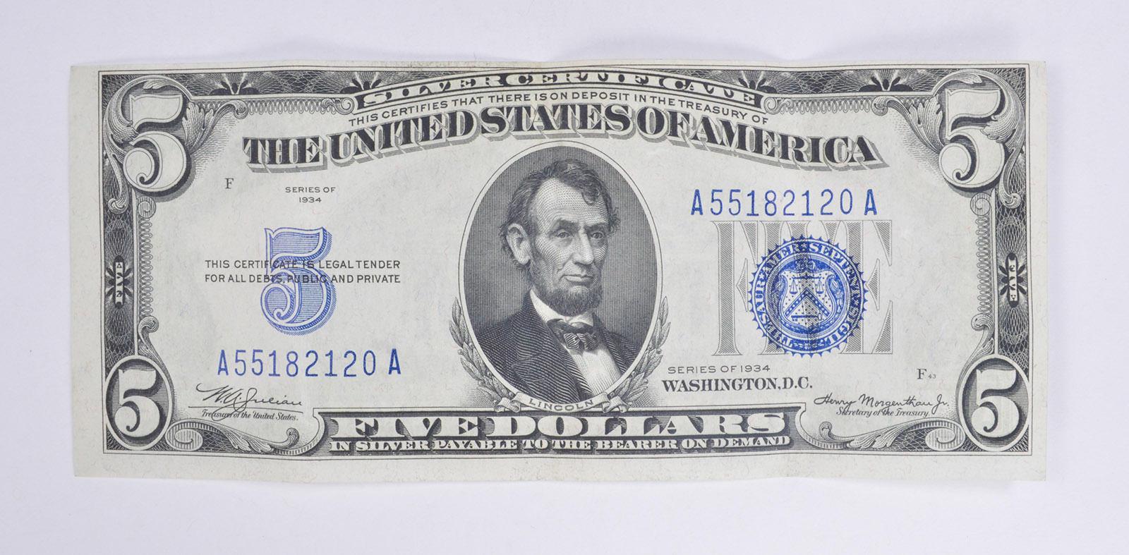 Rare Crisp 1934 Silver Certificate 500 Very Tough In Higher