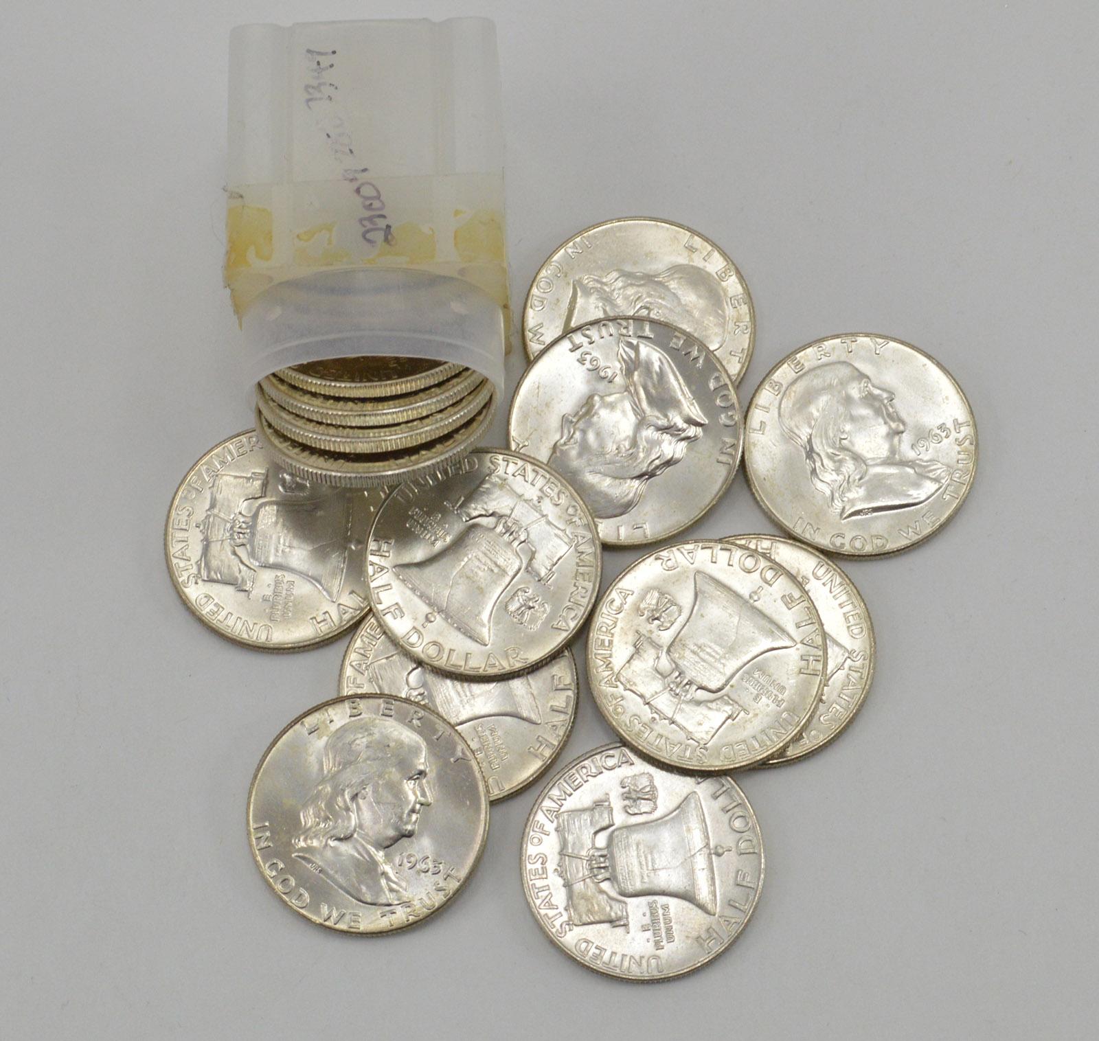 a61c87767cec7 Roll - (20) Choice BU 1963 Franklin Half Dollar Roll - Last Year ...